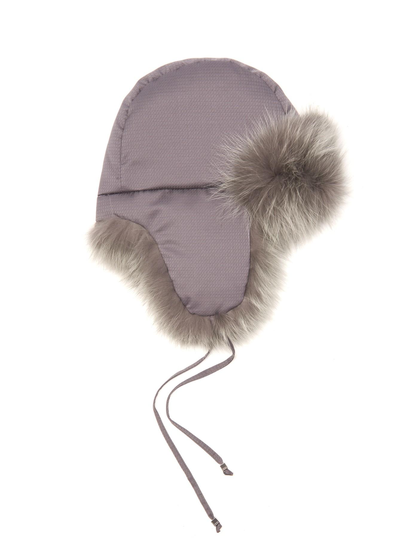 622c7fd3293 Fendi Micro-Logo Fox-Fur Lined Trapper Hat in Gray - Lyst