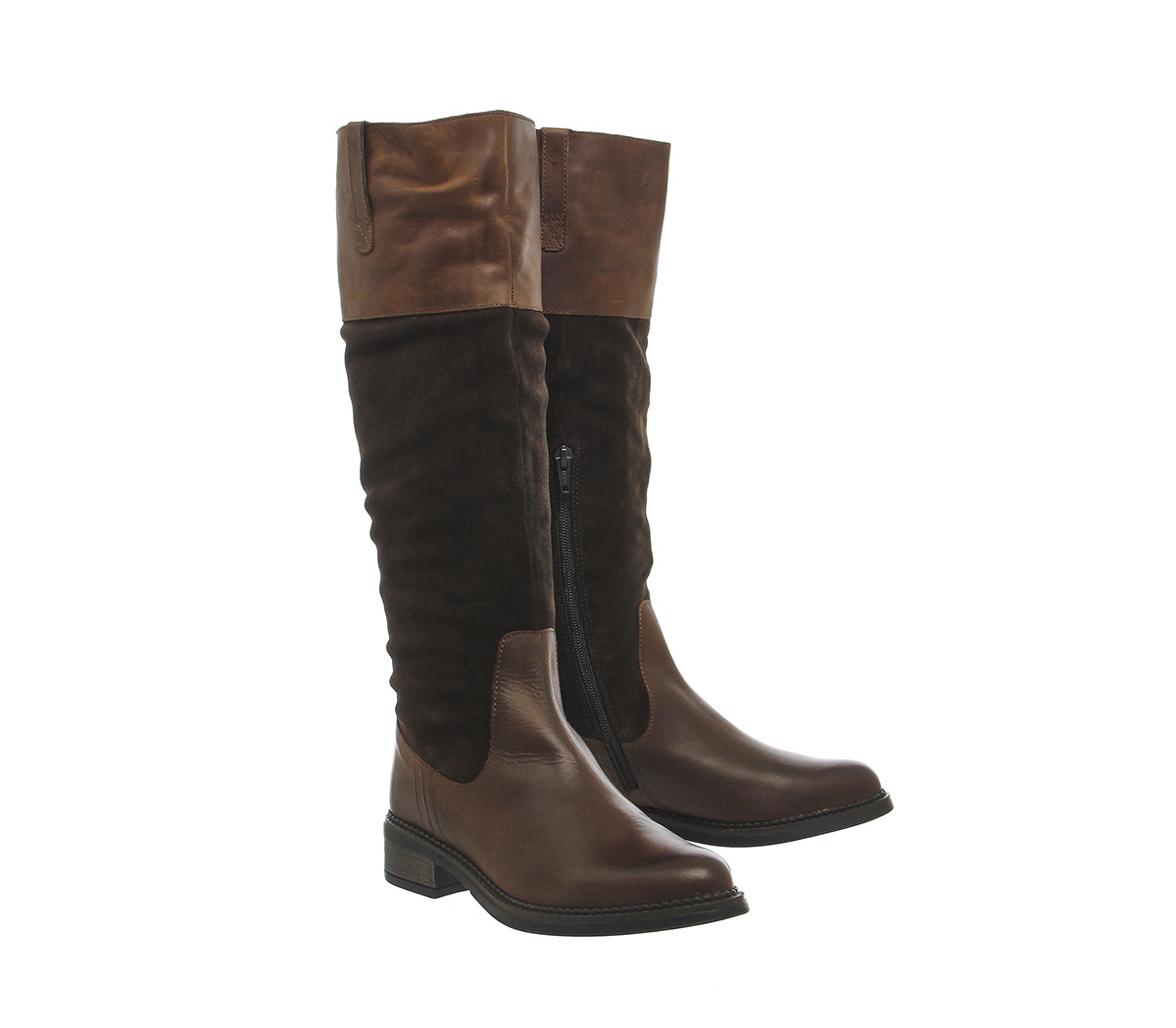 office emmett casual suede knee boots in brown lyst