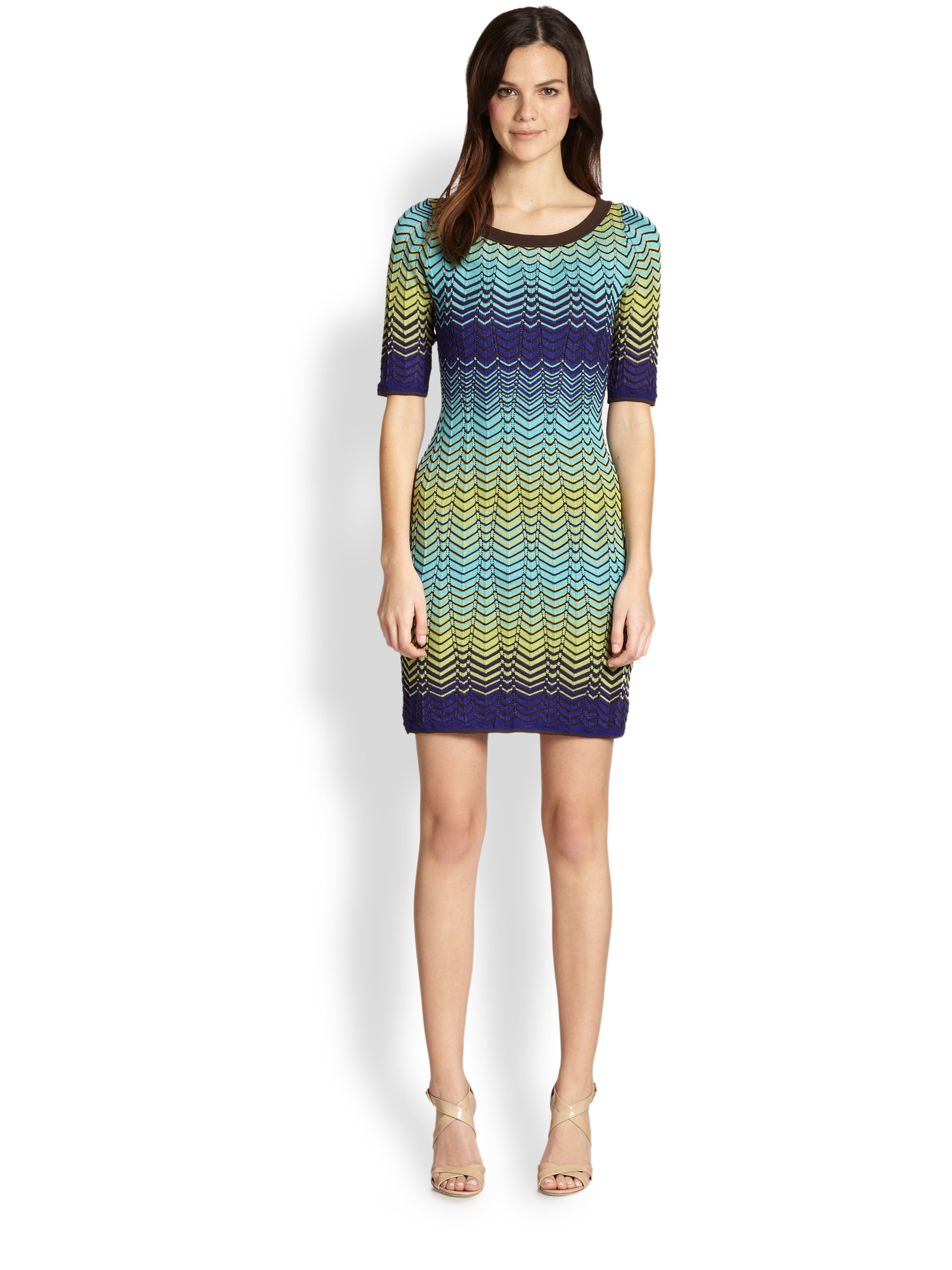 M Missoni Zigzag Knit Dress in Multicolor (TURQUOISE)