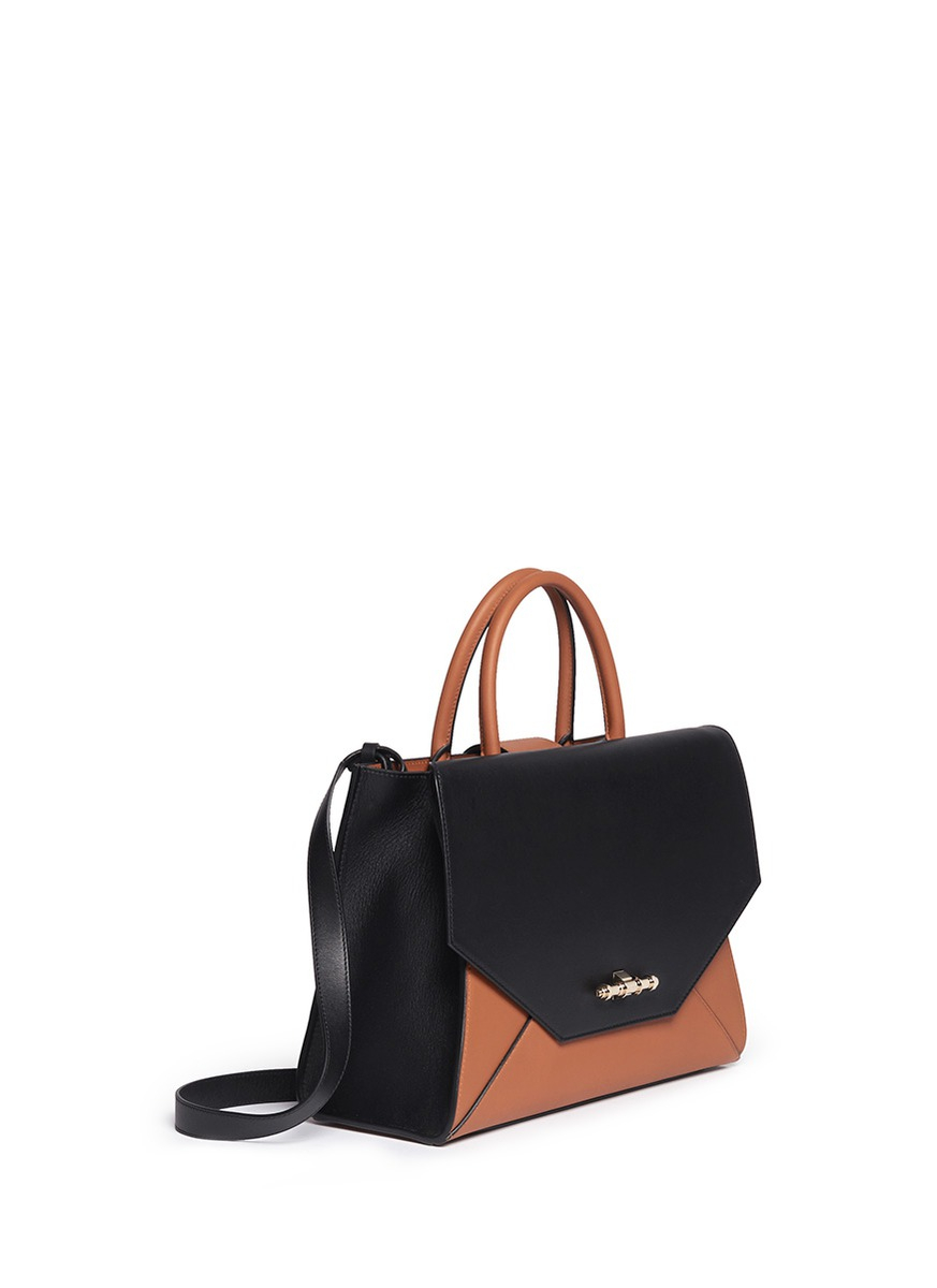 b8db9277c9bc Givenchy  obsedia  Small Bicolour Leather Flap Tote in Black - Lyst