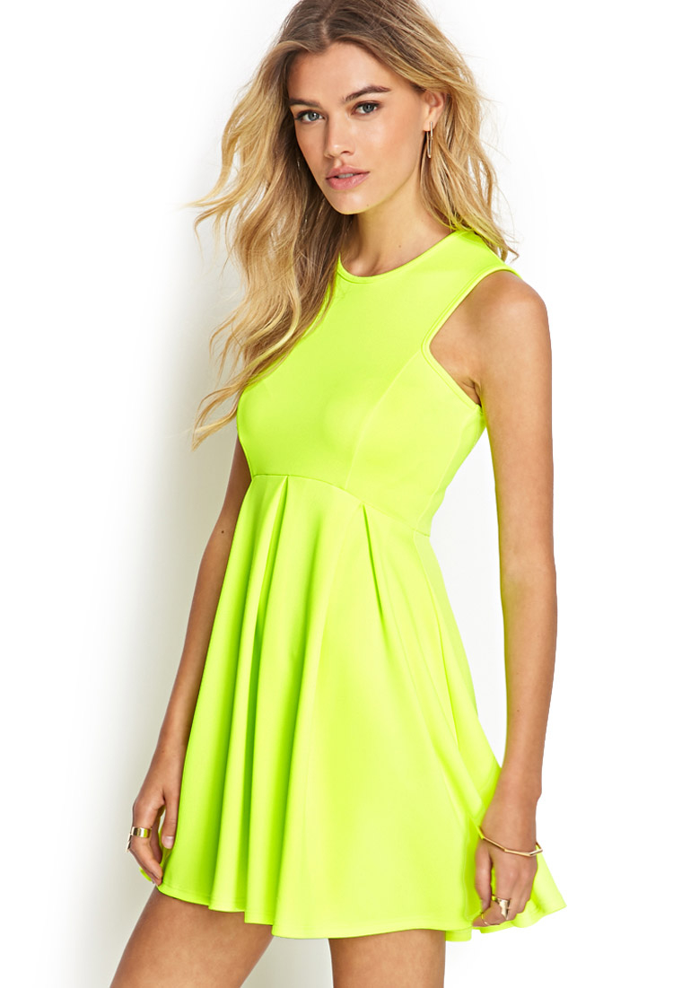 Lyst - Forever 21 Neon Racer Pleated Dress in Yellow