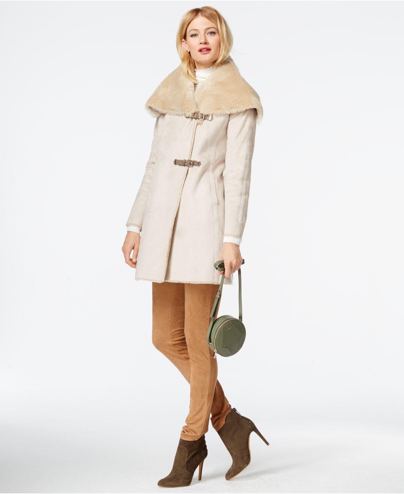 b6cb5d73c1db Calvin Klein Faux-shearling Asymmetrical Buckled Coat in Natural - Lyst