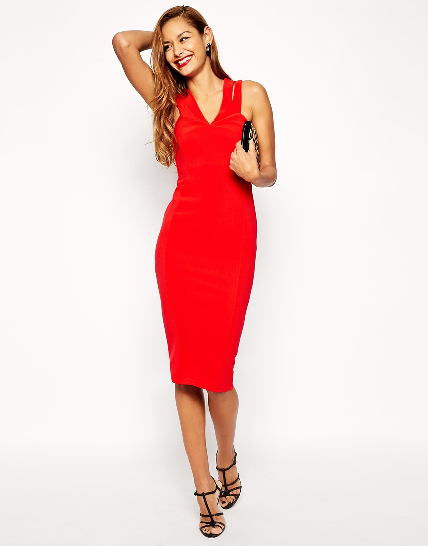 ea54d5aa175 ASOS Sexy Double Strap Midi Bodycon Dress in Red - Lyst