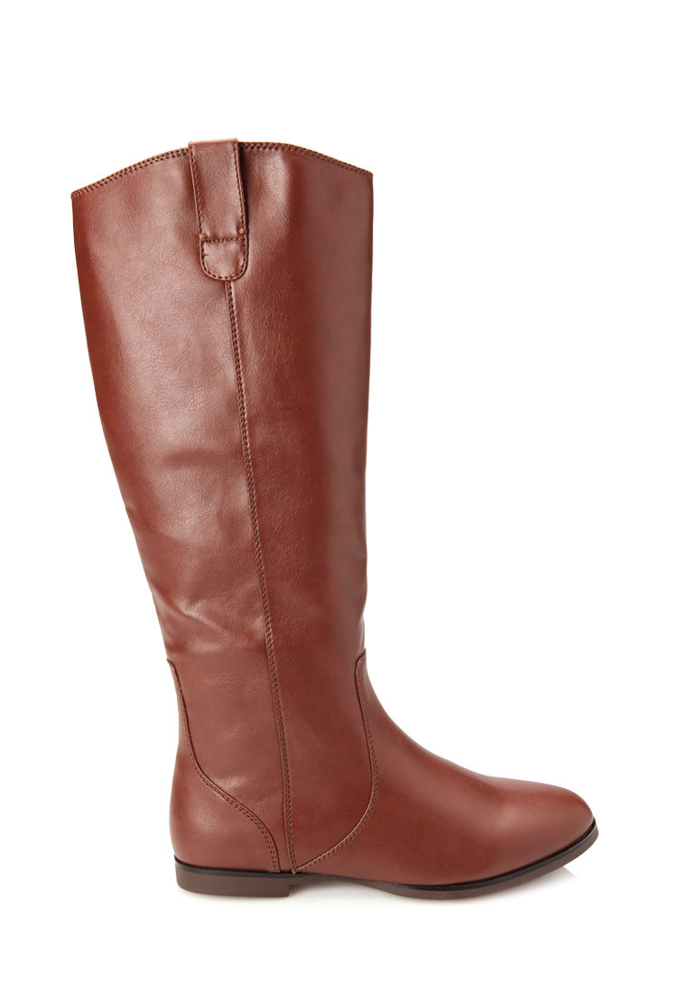 forever 21 faux leather boots in brown chestnut