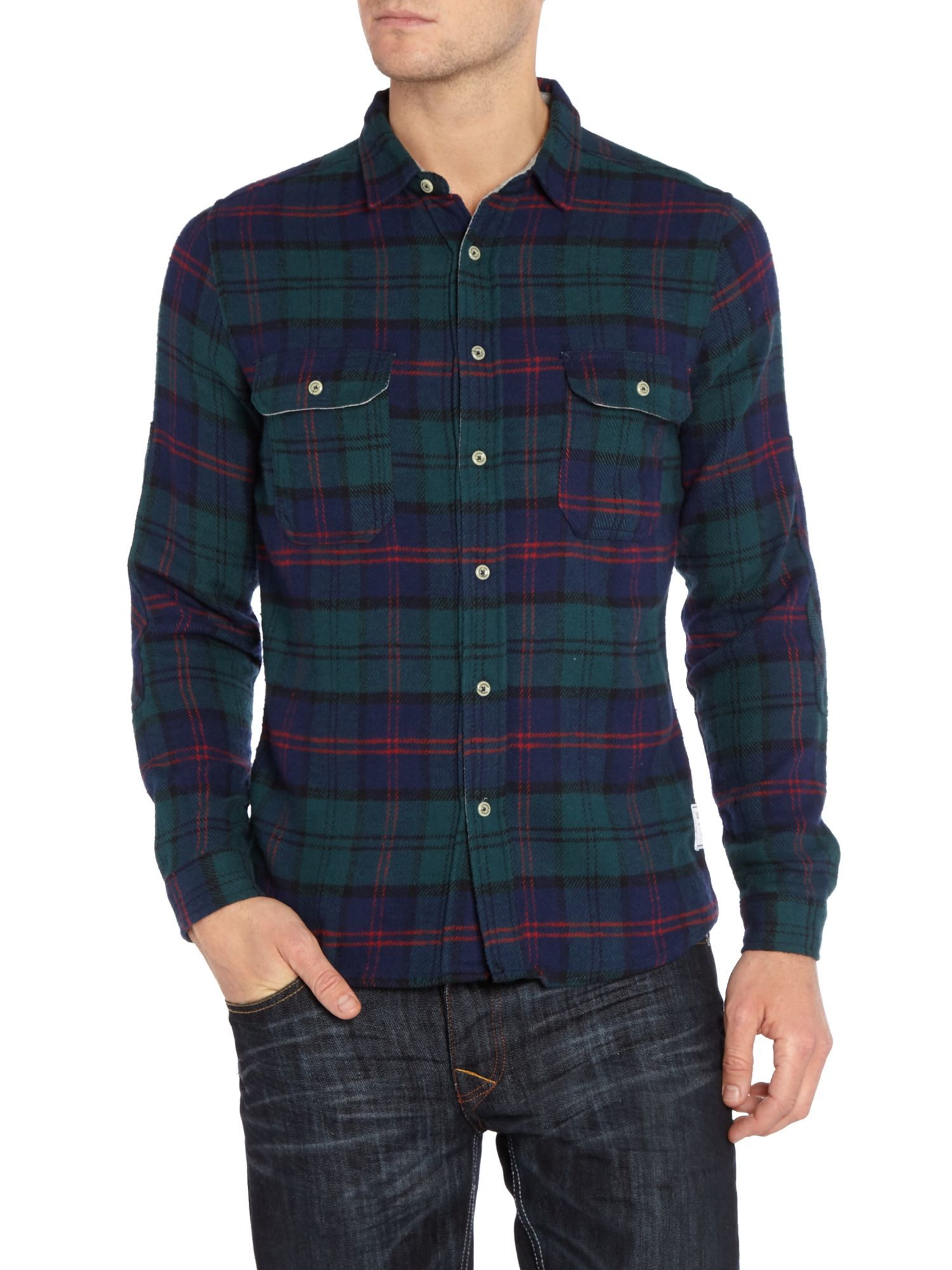 Supremebeing Service Regular Fit Flannel Check Shirt in Green for Men