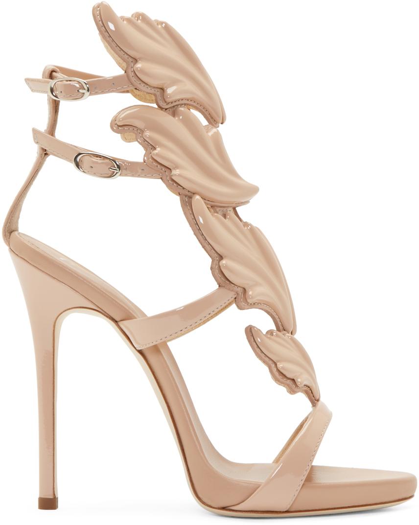 Giuseppe Zanotti Blush Patent Leaf Gladiator Heels in Pink - Lyst