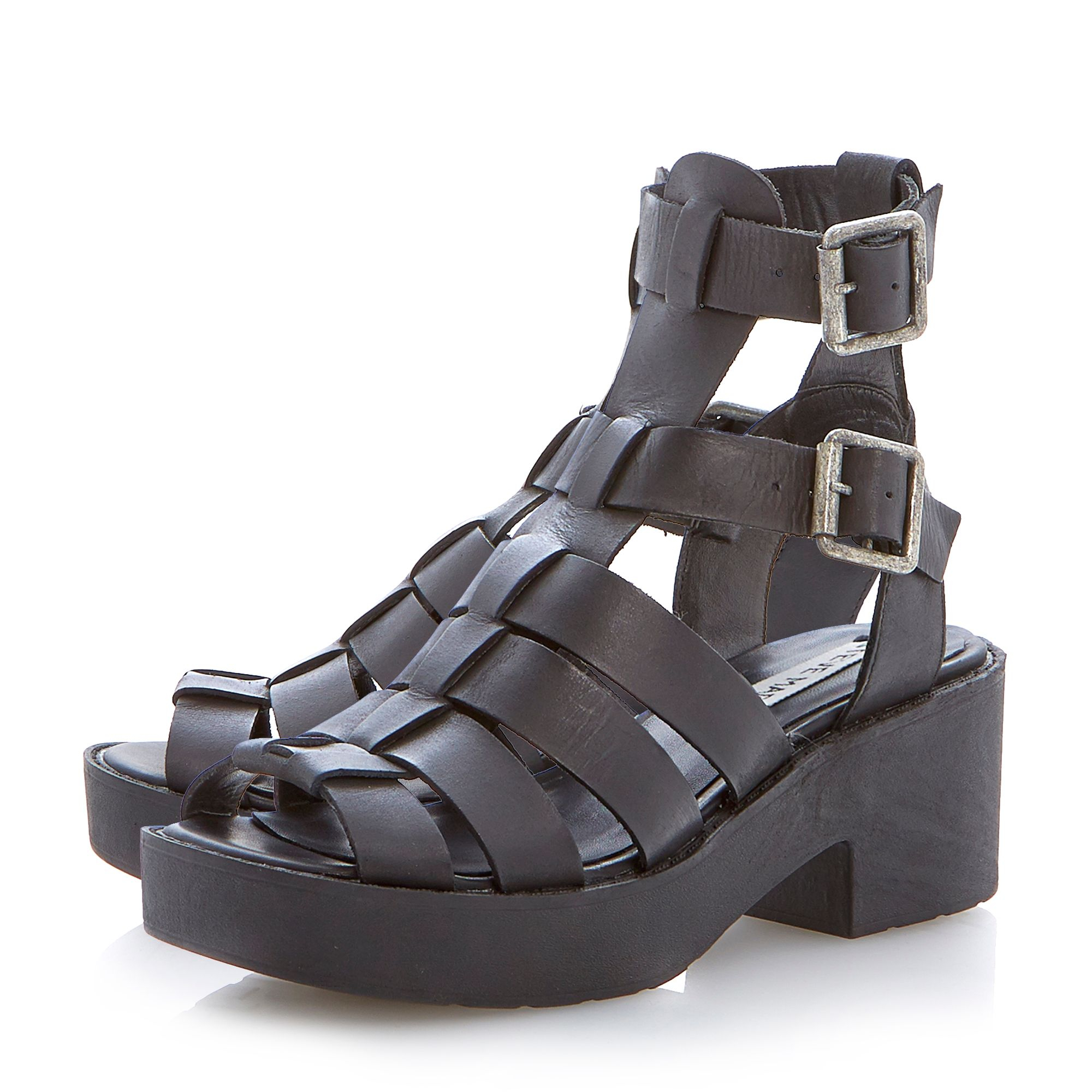 steve madden schoolz platform gladiator sandals in black lyst. Black Bedroom Furniture Sets. Home Design Ideas