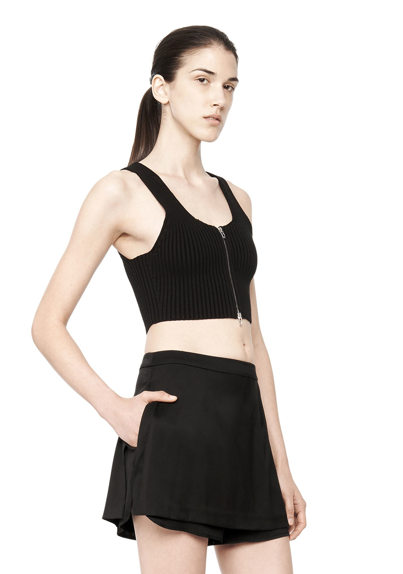 lyst t by alexander wang knit twill sleeveless top in black. Black Bedroom Furniture Sets. Home Design Ideas