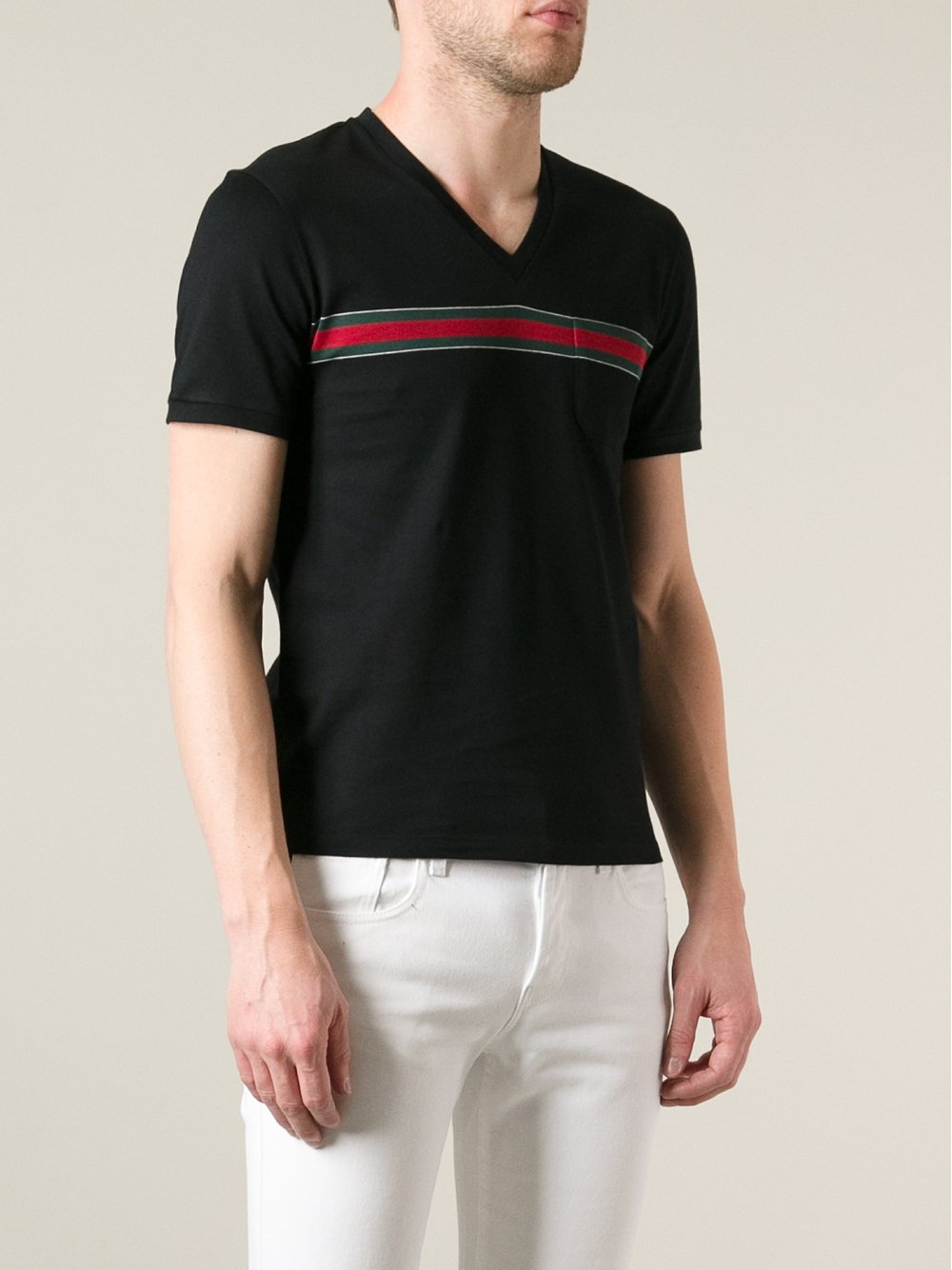 Gucci vneck tshirt in black for men lyst for V neck black t shirt
