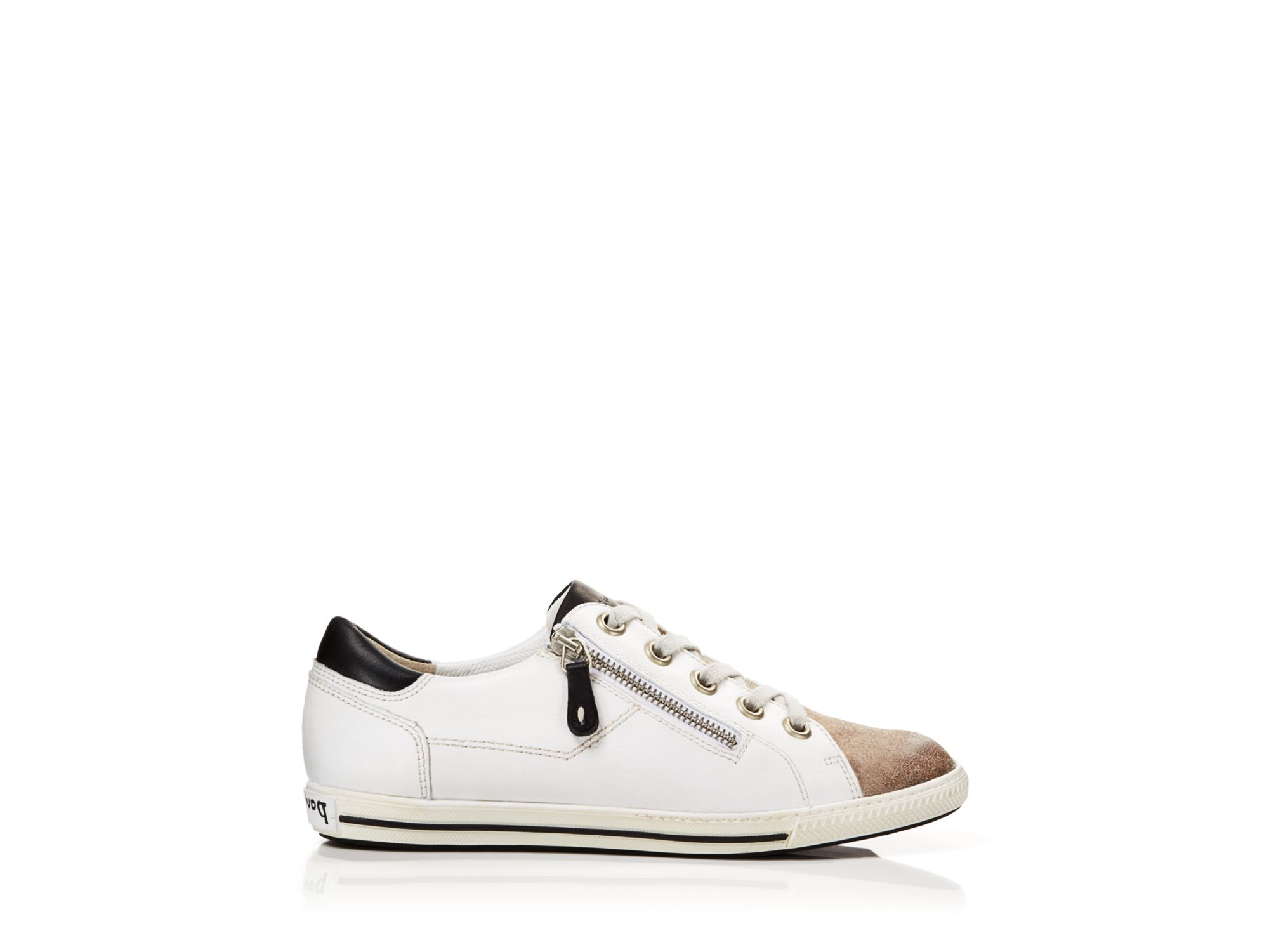lyst paul green lace up sneakers chaplin side zip in white. Black Bedroom Furniture Sets. Home Design Ideas