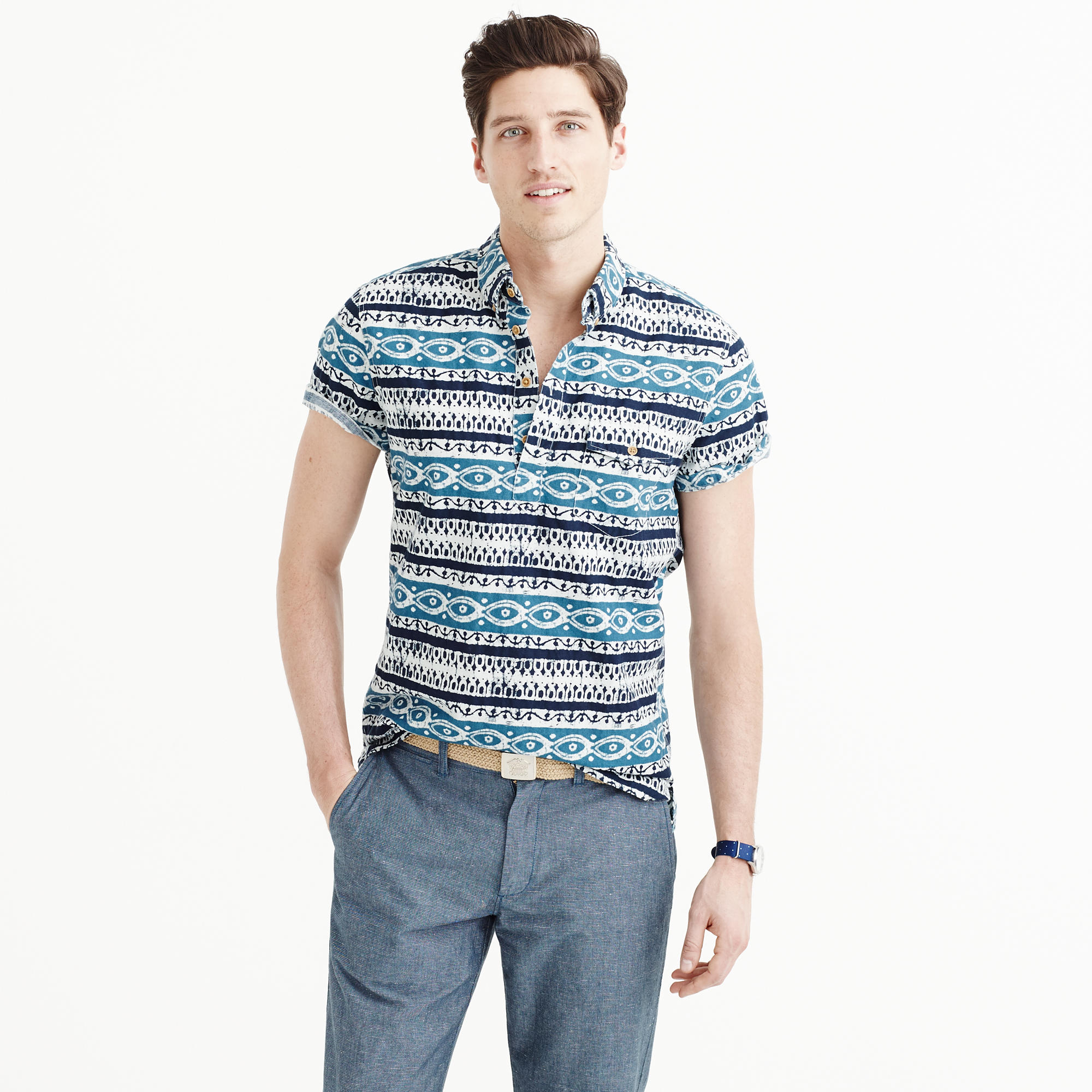 Short sleeve popover shirt in baltic blue batik in for J crew mens outfits