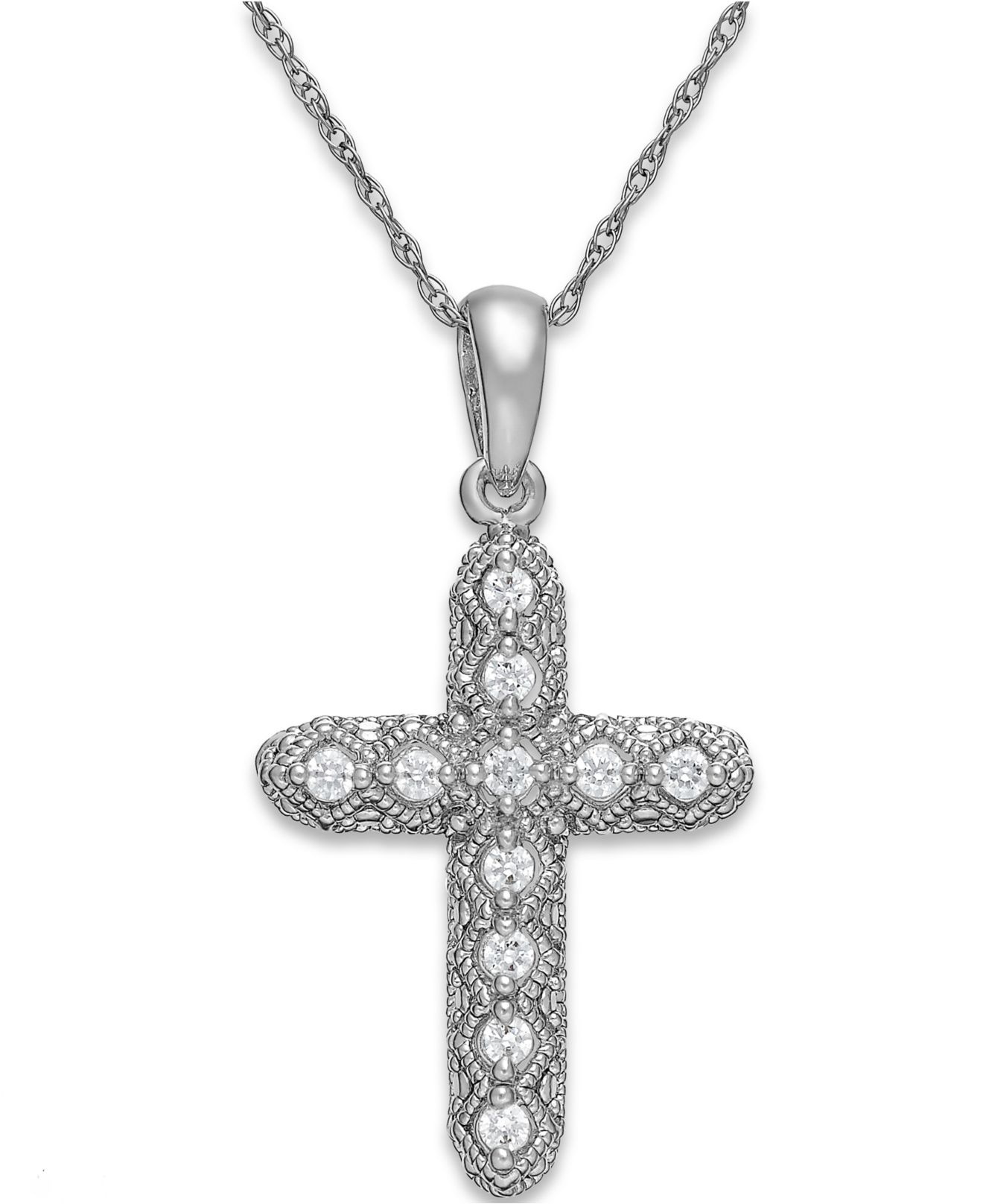 macy 39 s diamond cross pendant necklace in 14k white gold 1. Black Bedroom Furniture Sets. Home Design Ideas