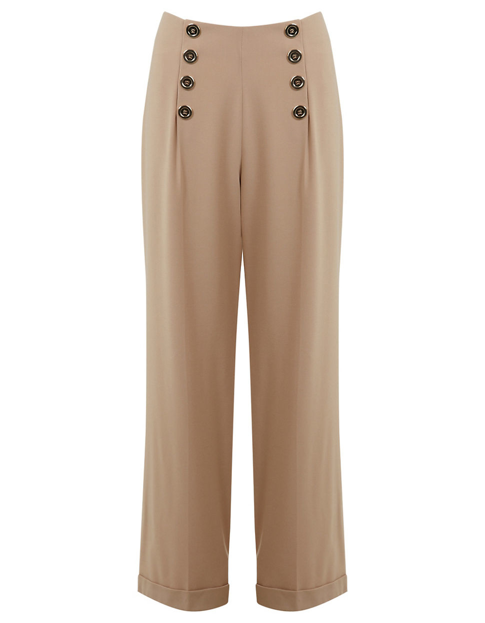 7b26a9002931e Miss selfridge High-waist Button Trousers in Natural