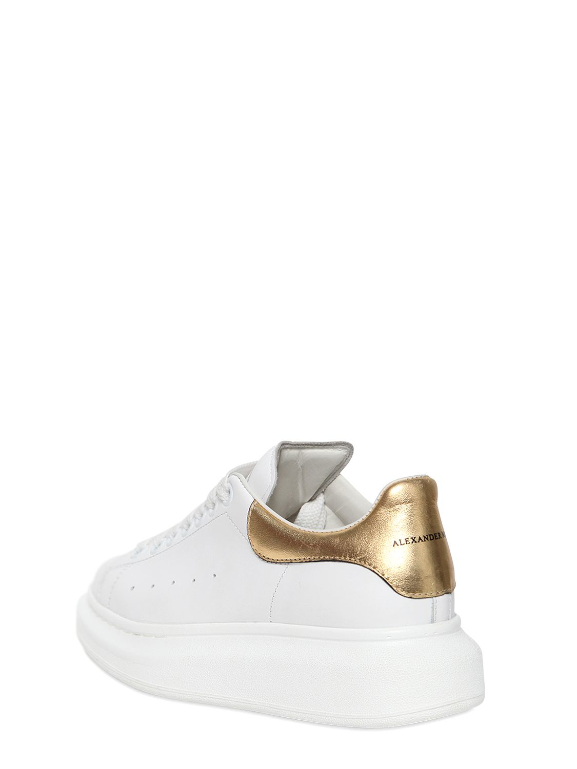White All Leather Athletic Shoes