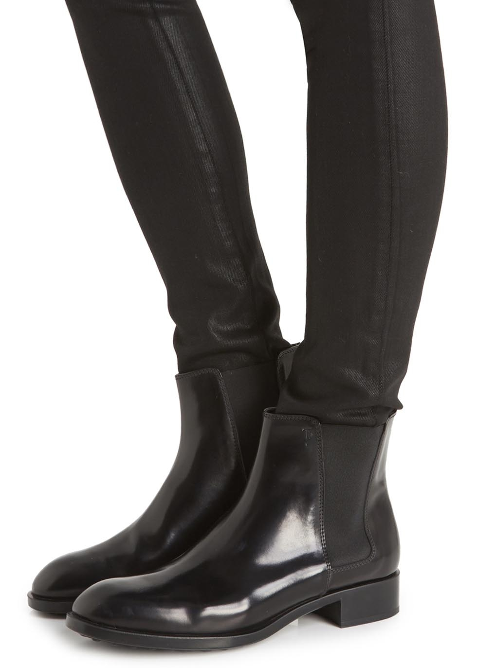 Tod S Black Patent Leather Chelsea Boots In Black Lyst