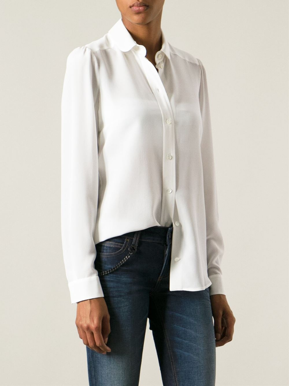 ff49065f6328 Gucci Crepe Shirt in White - Lyst