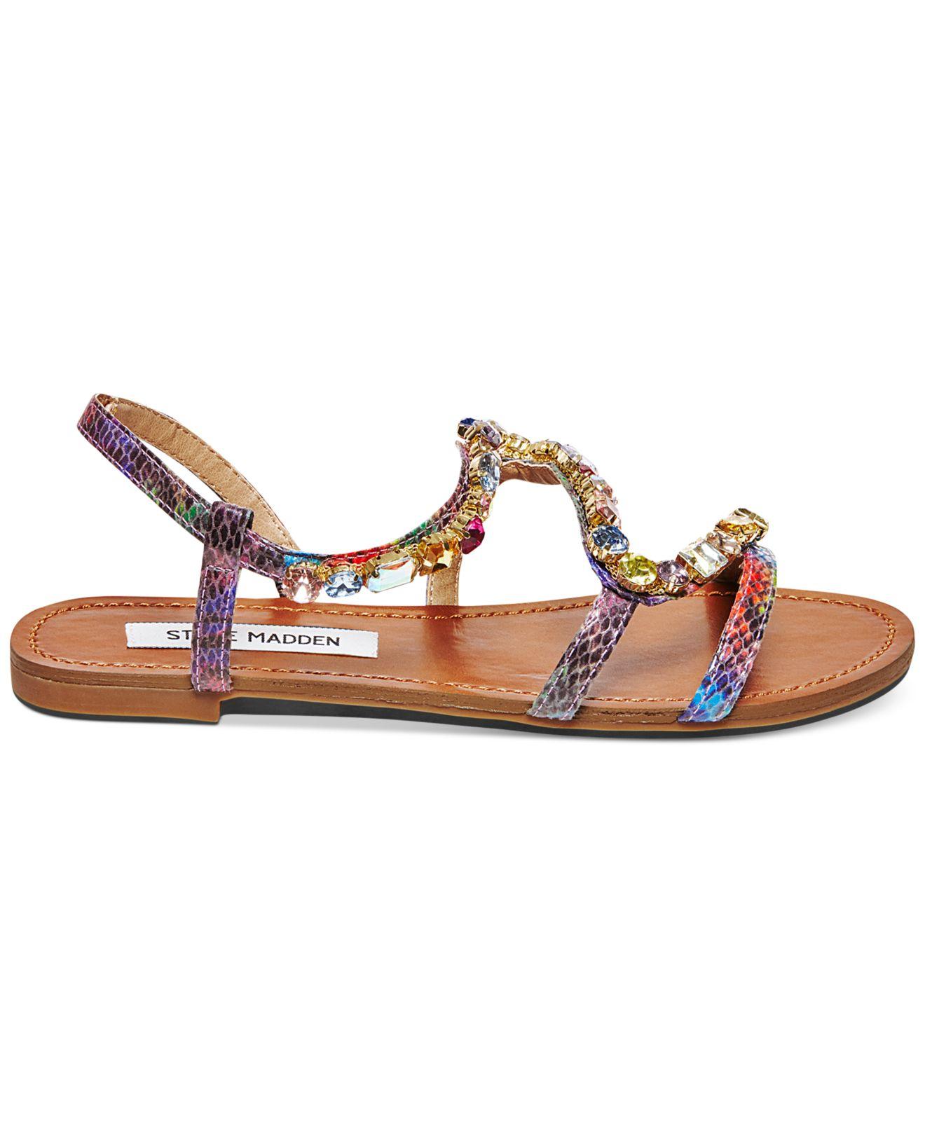 Steve Madden Blazzzed Jeweled Flat Sandals | Lyst