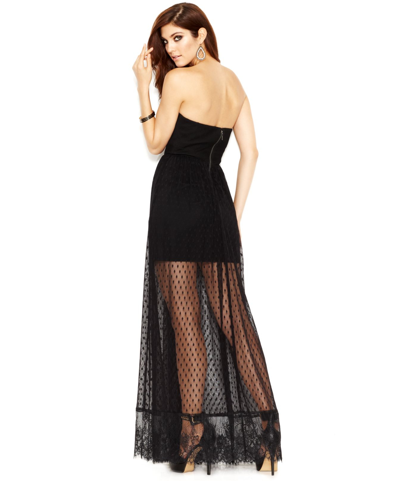 08400fef7c7 Guess Black Strapless Lace-Overlay Maxi Dress
