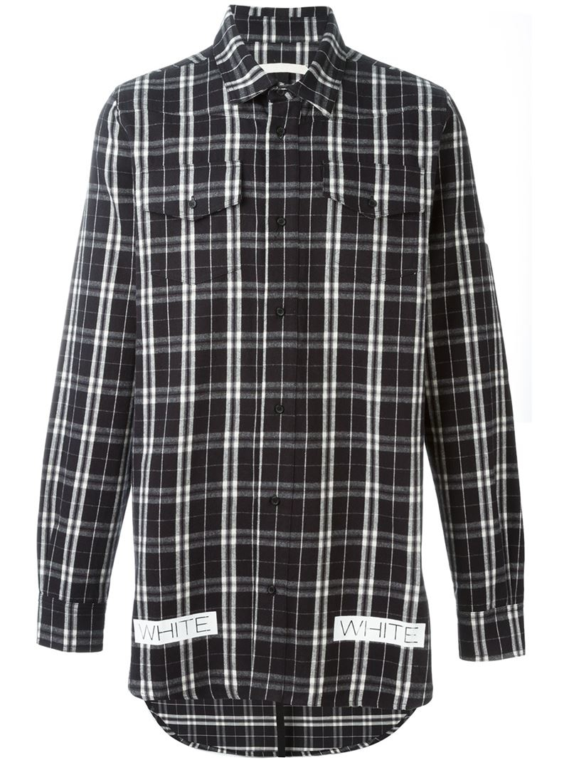 Off-white c/o virgil abloh Logo Print Checked Shirt in Black for ...