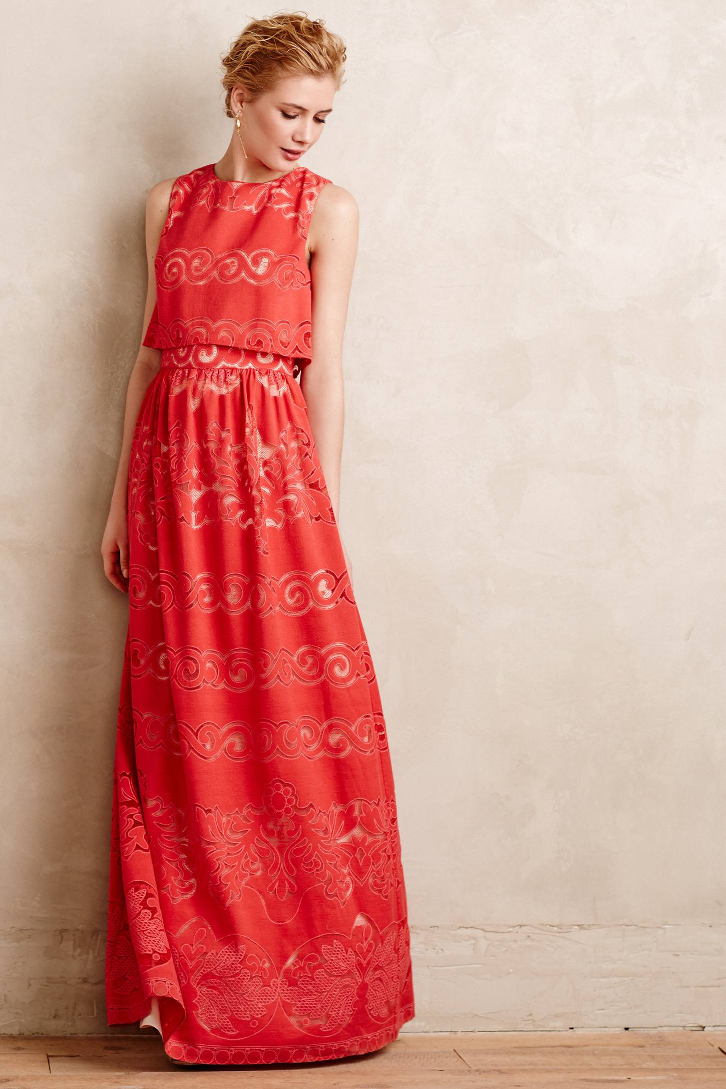 Lyst Erin Fetherston Coral Garden Maxi Dress In Red