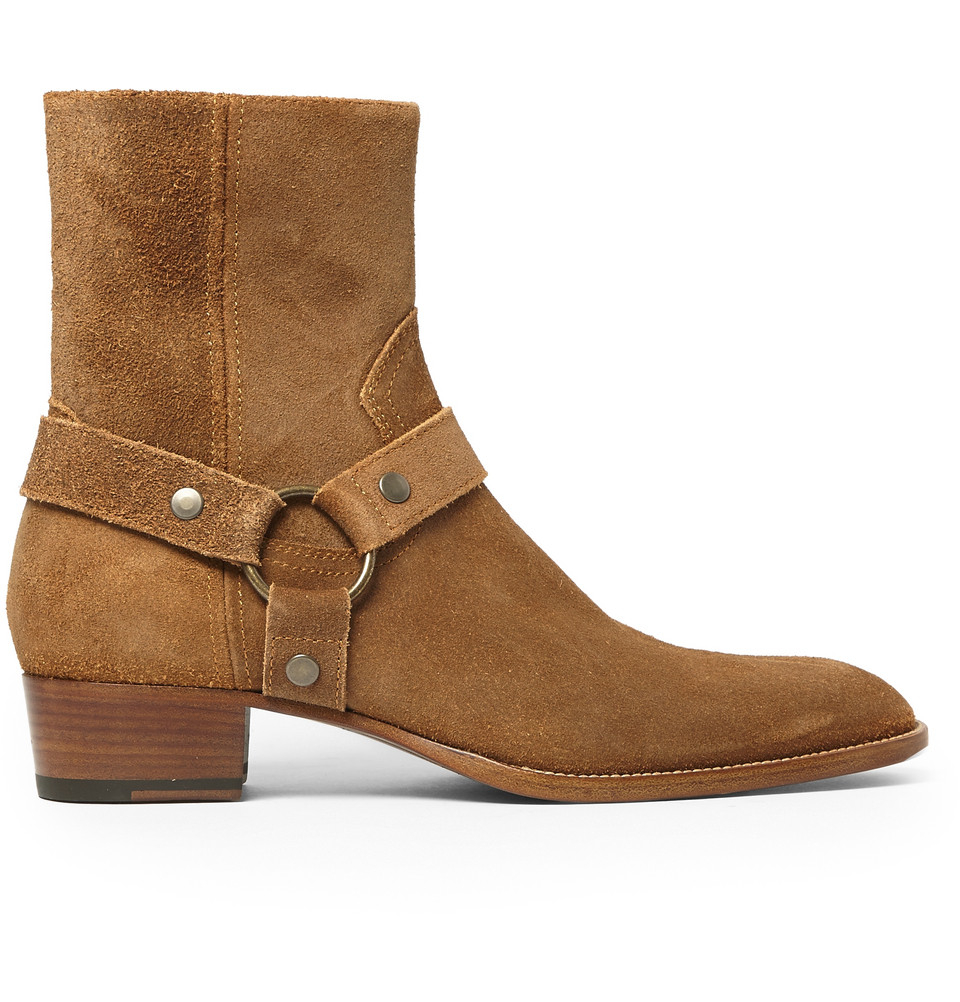 Saint Laurent Suede Harness Boots In Brown For Men Lyst
