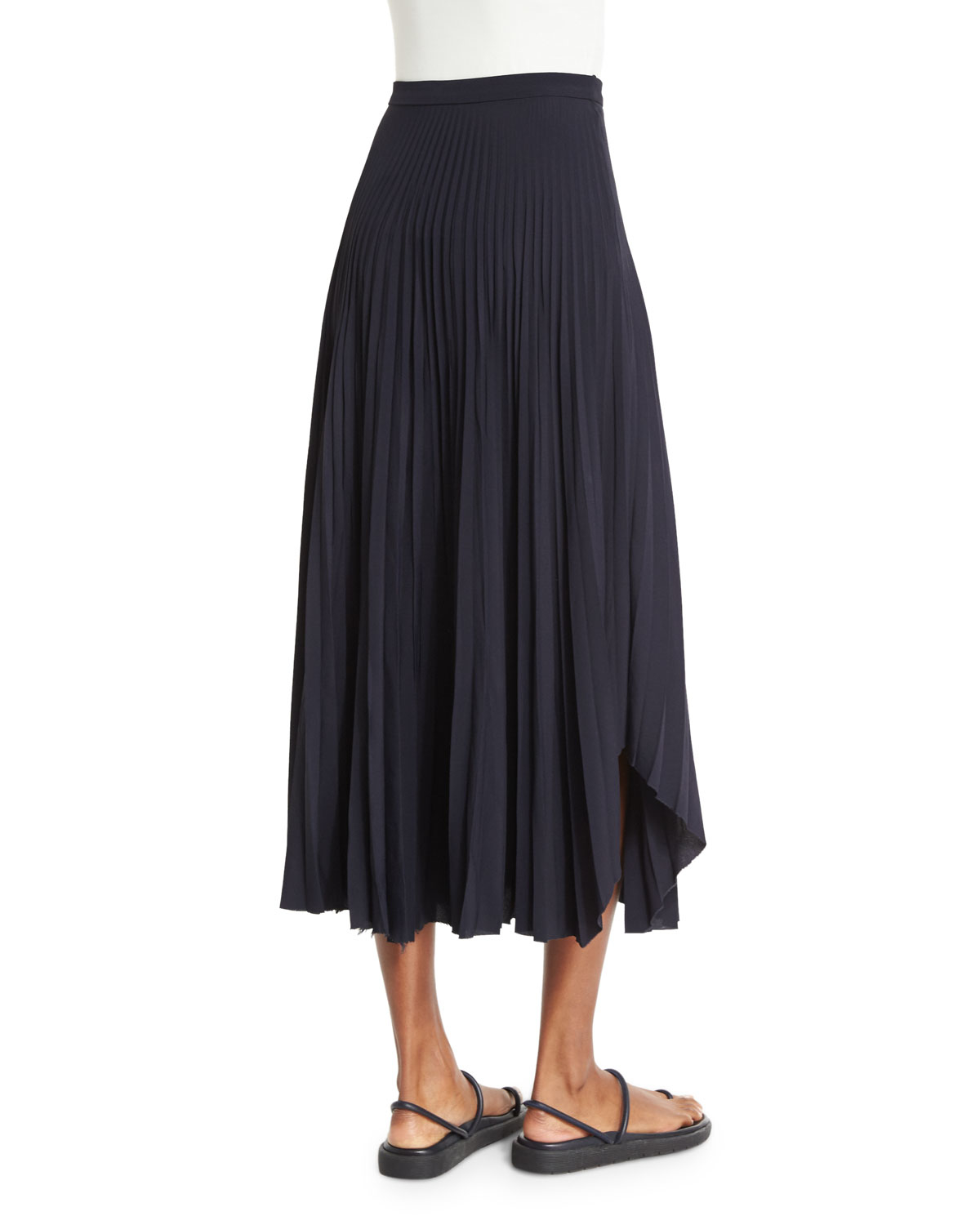helmut lang pleated chiffon high waist midi skirt in blue