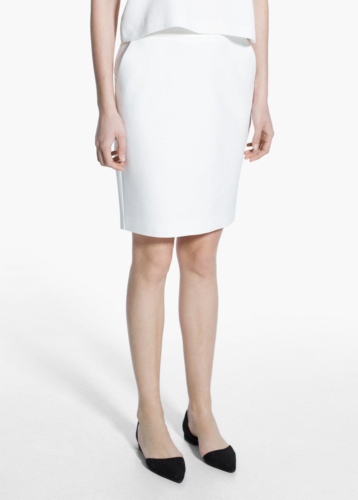Mango Cotton Pencil Skirt in White | Lyst