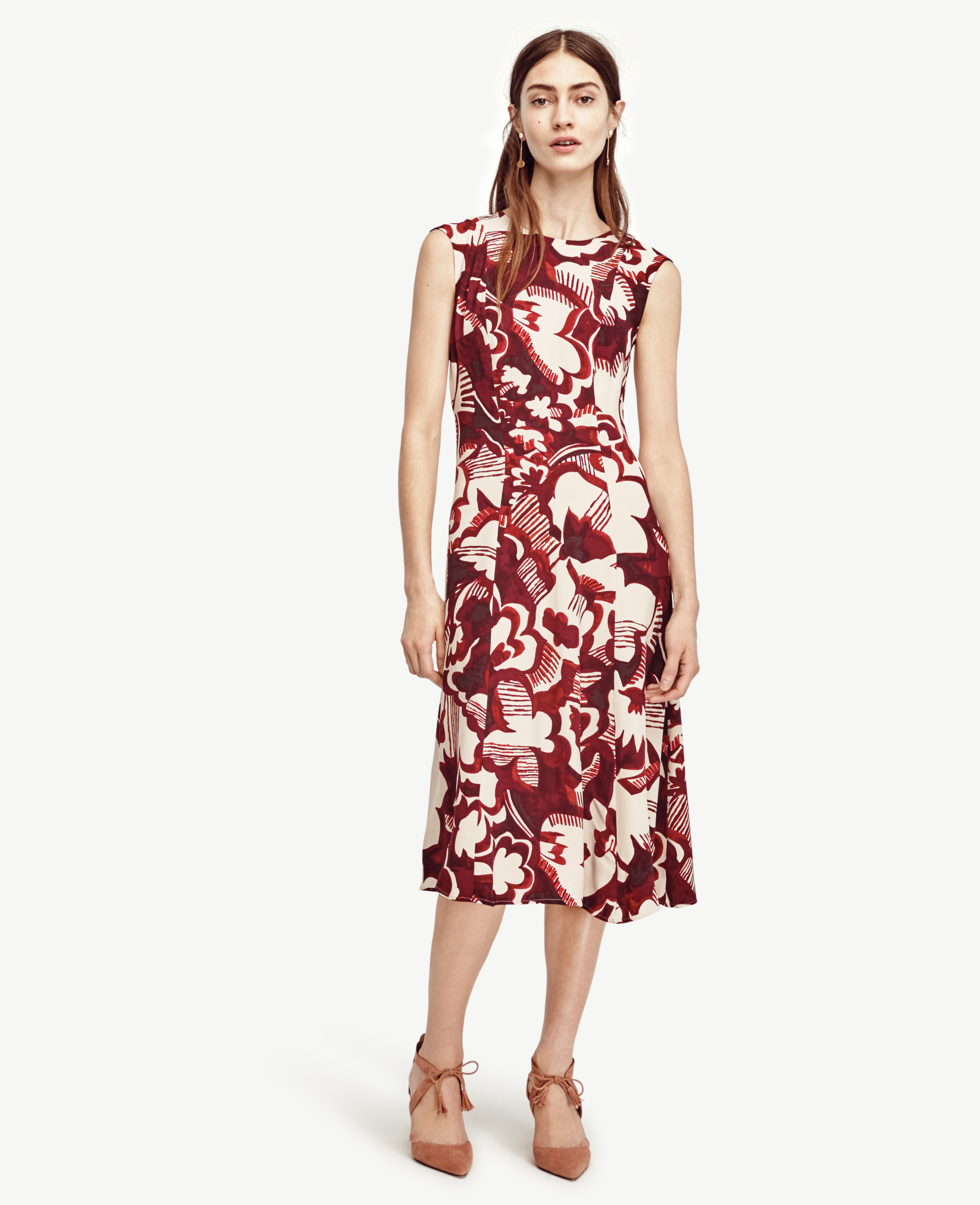 Lyst - Ann Taylor Watercolor Floral Midi Dress in Pink