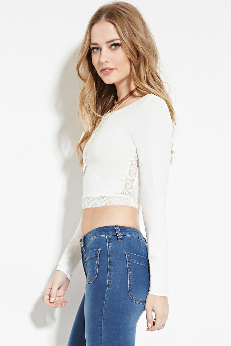 Forever 21 Lace Panel Crop Top in White | Lyst