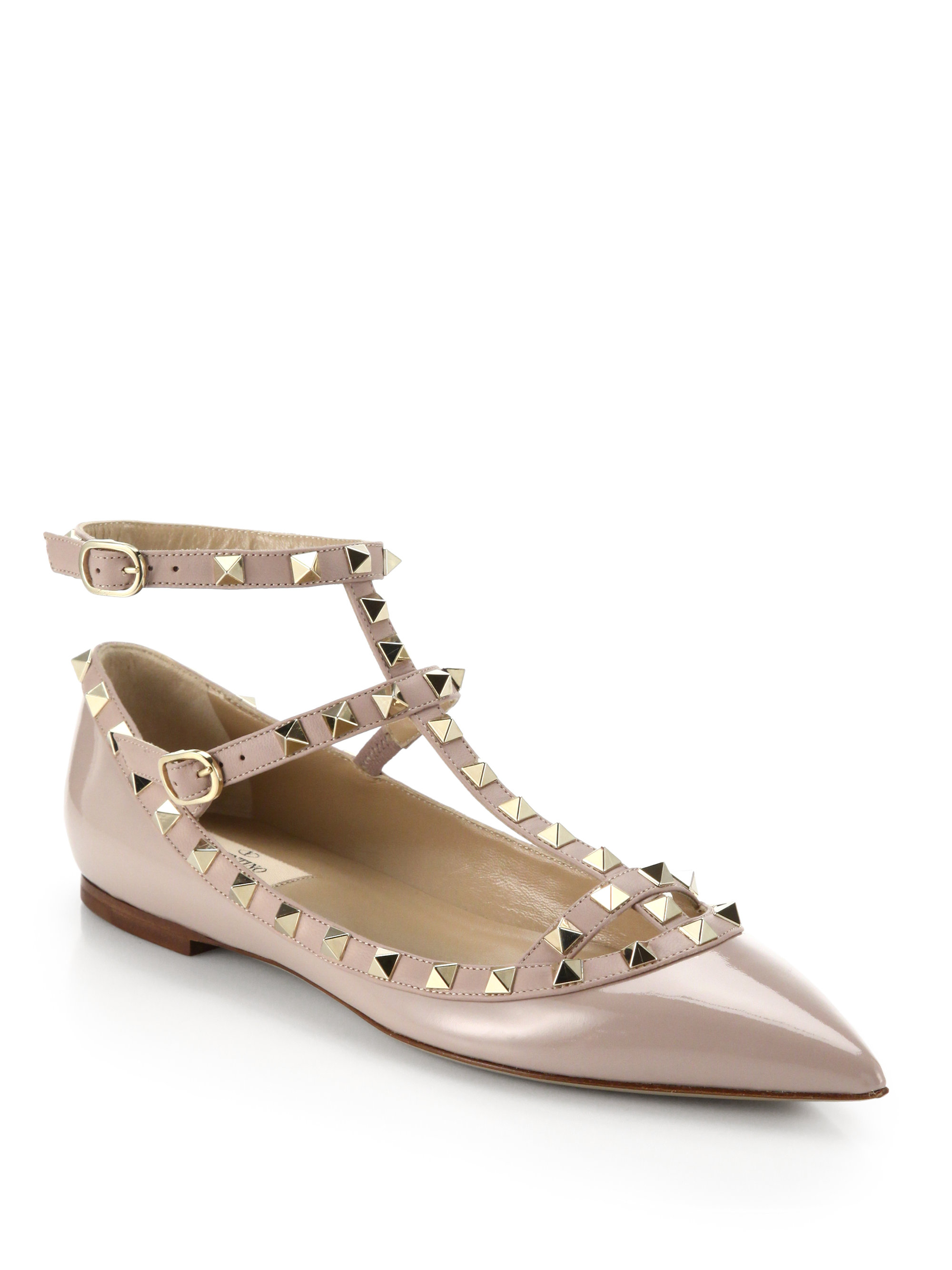 Valentino Rockstud Patent Cage Flats in Pink (blush) | Lyst