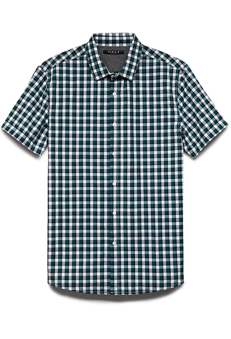 21men Checkered Plaid Cotton Shirt In Green For Men White