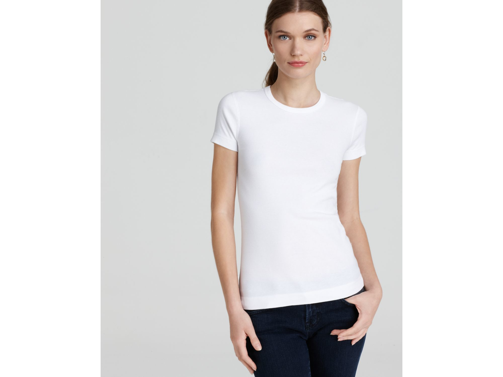 Three Dots Cotton 1x1 Tee In White Lyst