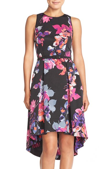 dafcc98db749 Vince Camuto Belted Faille Fit-and-Flare Dress in Black - Lyst