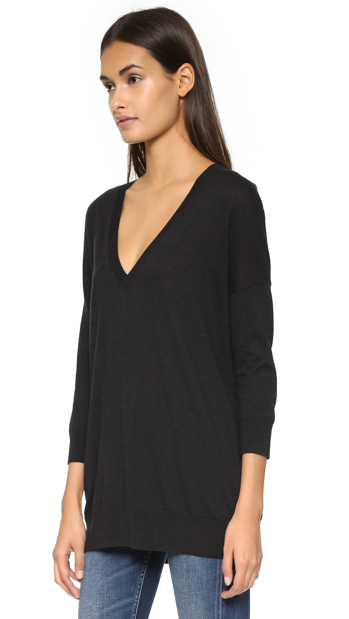 Autumn cashmere Cashmere Slouchy V Neck Sweater - Black in Black ...