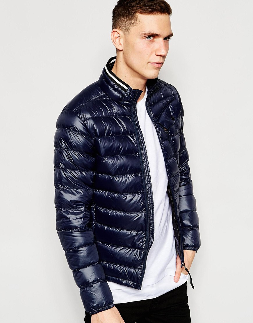 g star raw quilted jacket revend down filled nylon zipthru in blue for men lyst. Black Bedroom Furniture Sets. Home Design Ideas