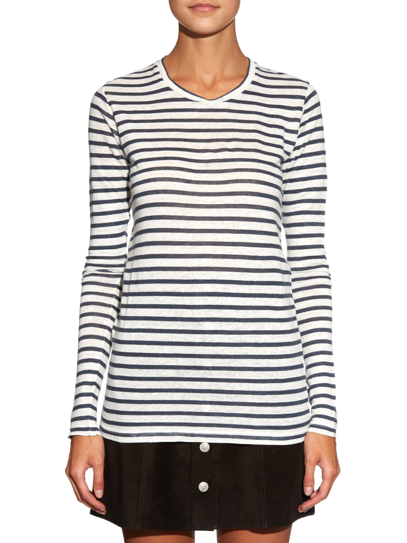 Cheap Order Karon long-sleeved striped linen-blend T-shirt Isabel Marant Authentic Cheap Price Outlet Recommend Professional Online Cheapest Price Cheap Online Ow0ss3d