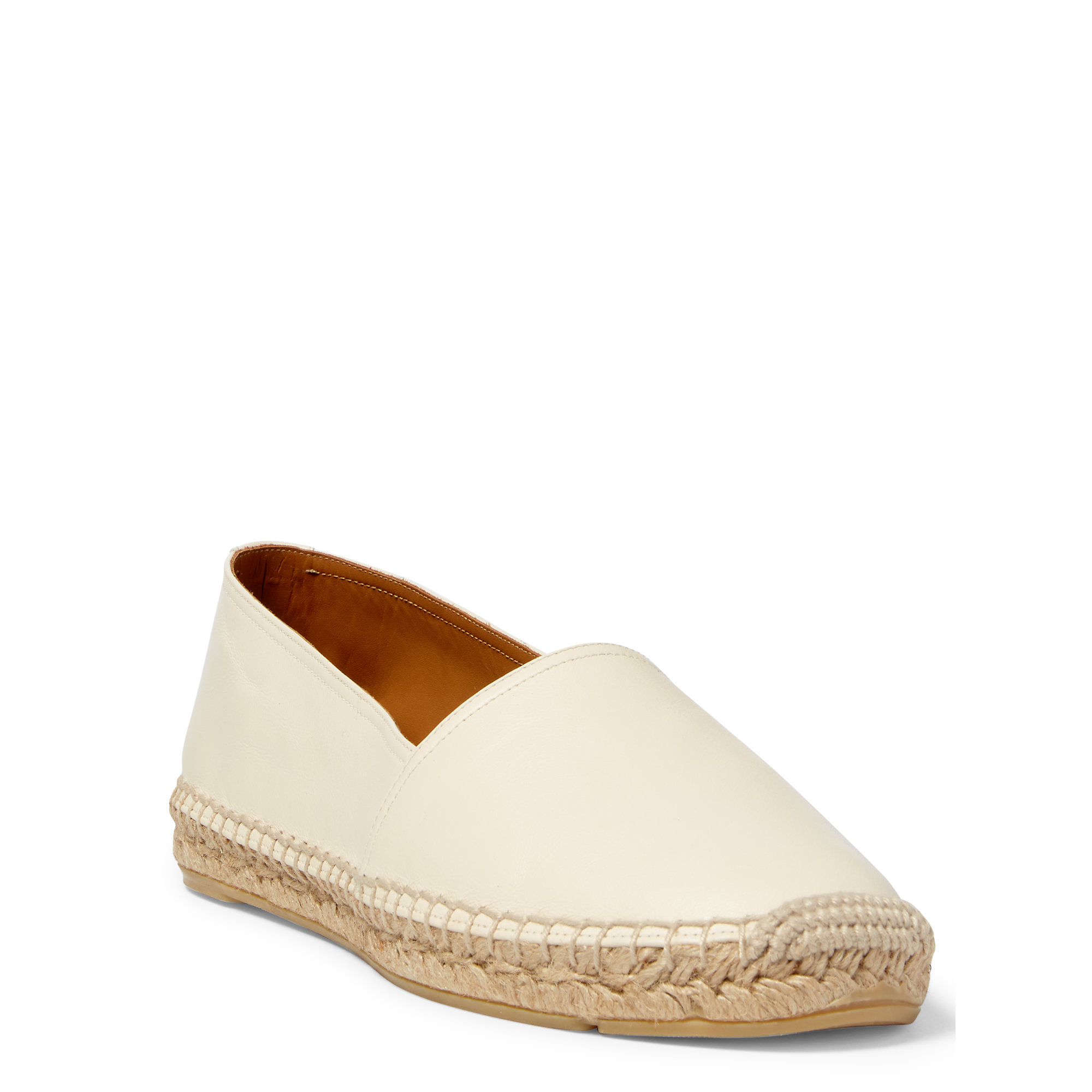 Lyst - Polo Ralph Lauren Jo Leather-raffia Espadrille in Natural 040e0a06740c