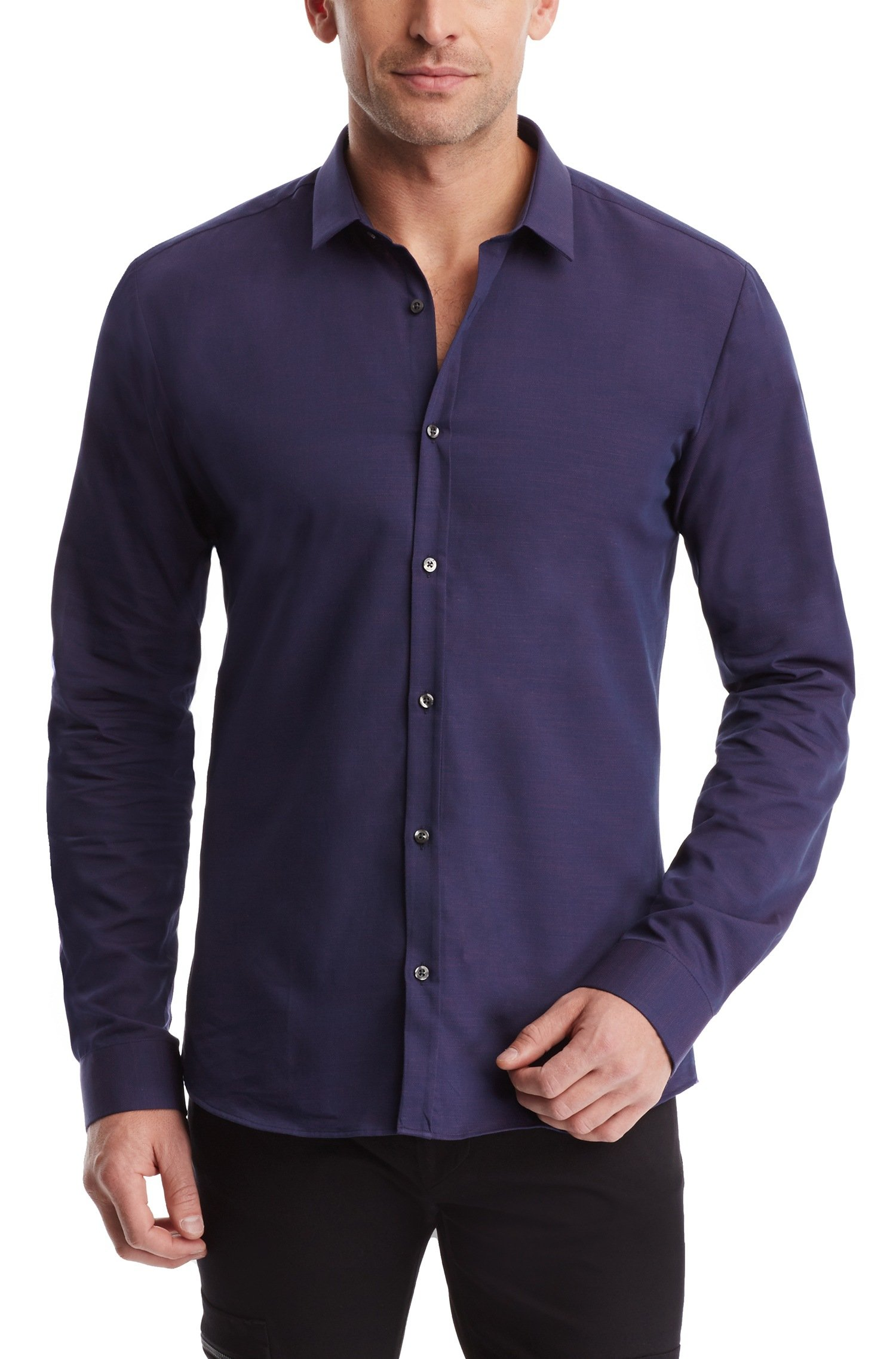 Lyst hugo 39 ero 39 slim fit cotton button down shirt in for Athletic fit button down shirts