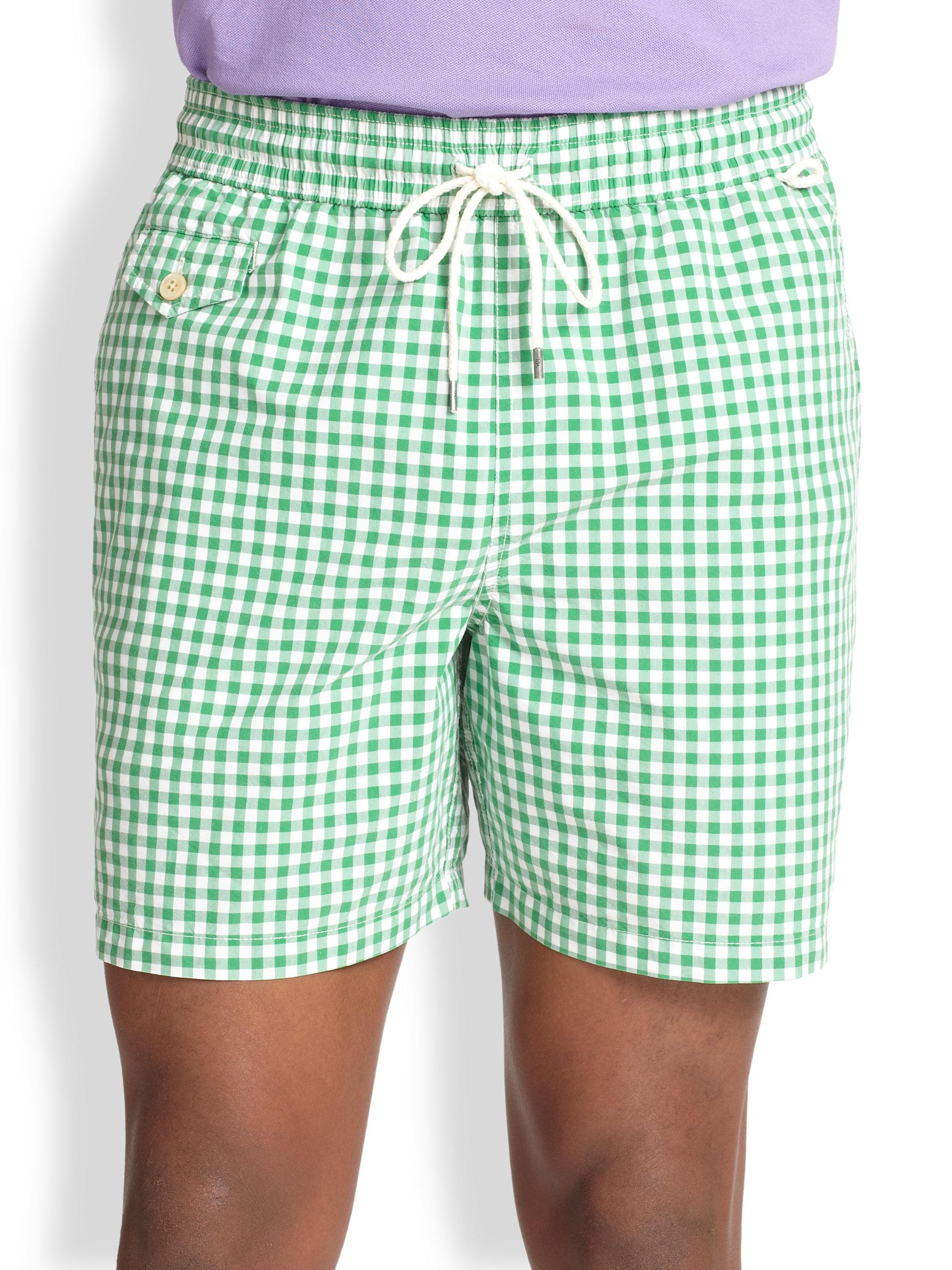 bfee925178 Polo Ralph Lauren Traveler Checked Swim Shorts in Green for Men - Lyst