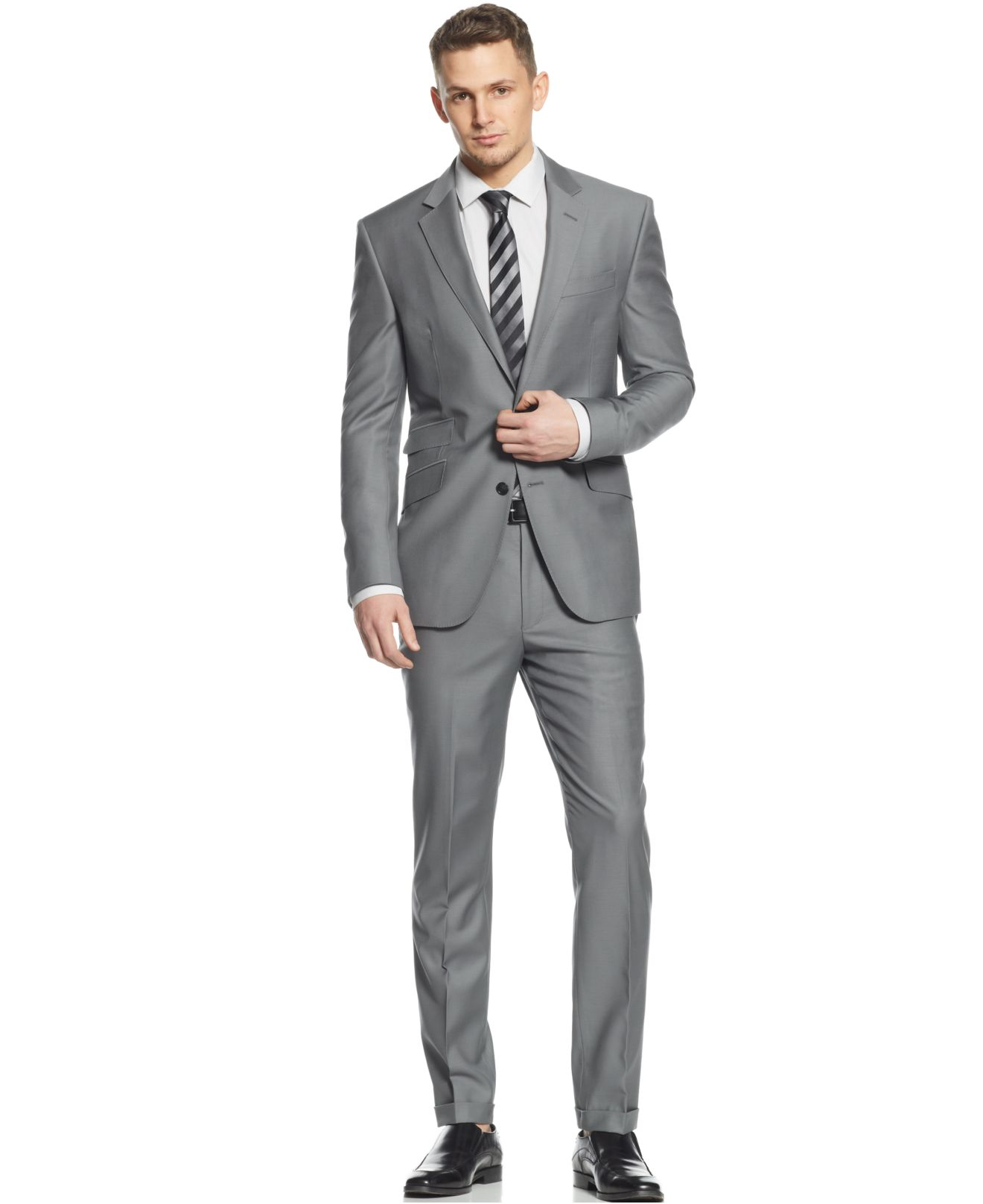 Kenneth cole Slate Grey Slim-fit Suit in Gray for Men | Lyst