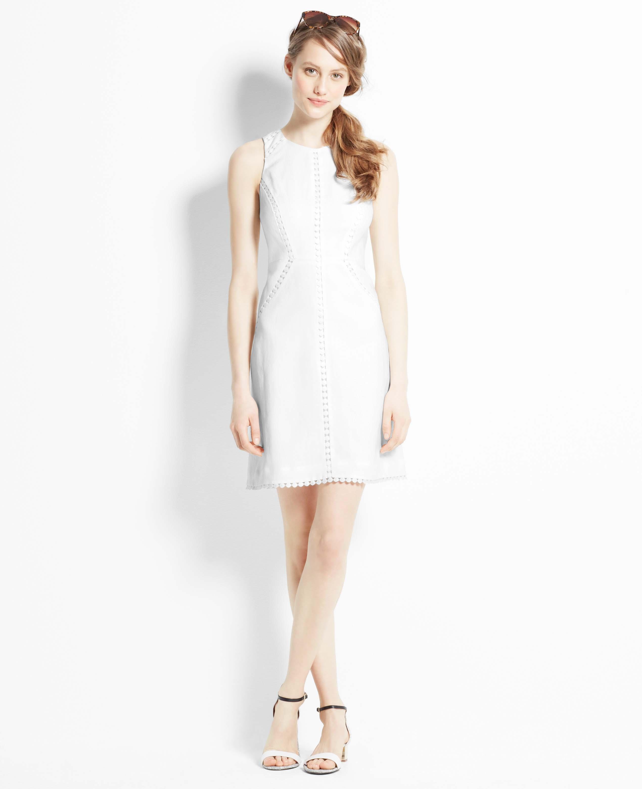 f9f76bdd73 Lyst - Ann Taylor Linen Sheath Dress in White
