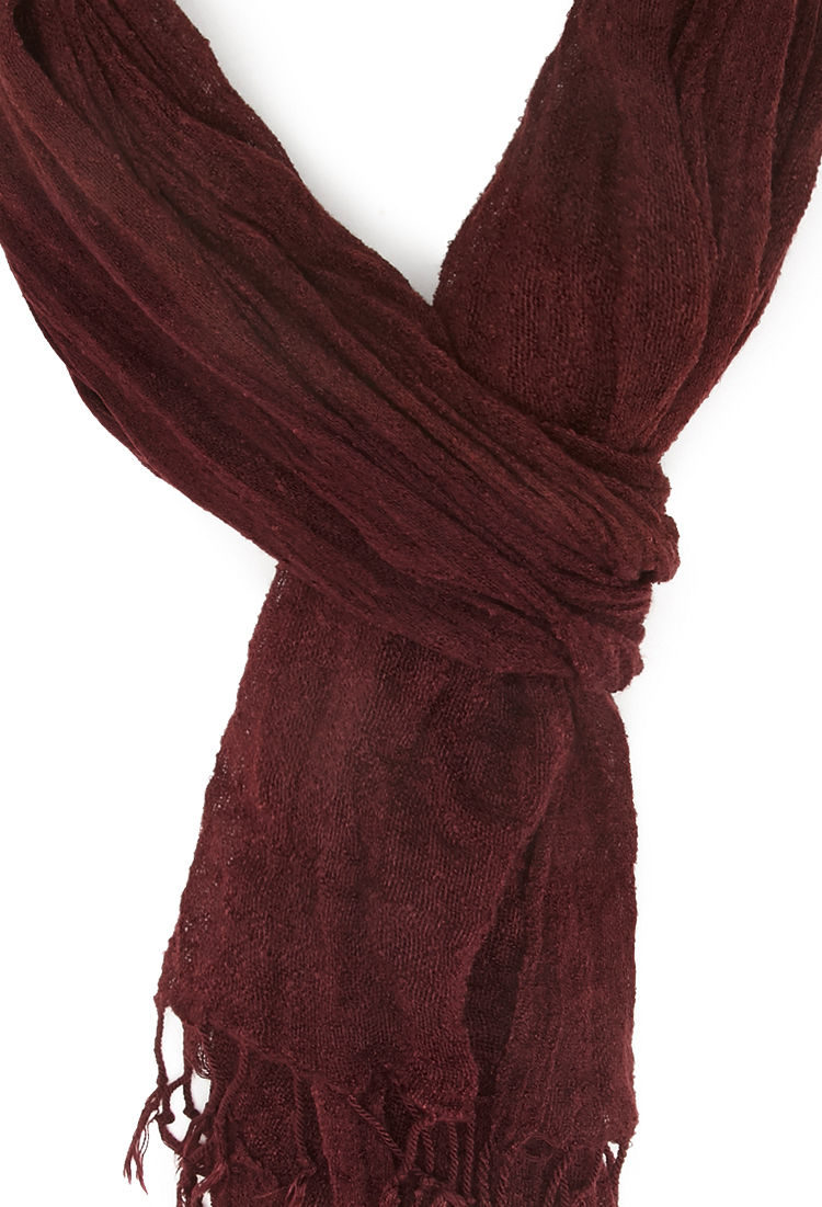forever 21 frayed knit scarf in purple lyst
