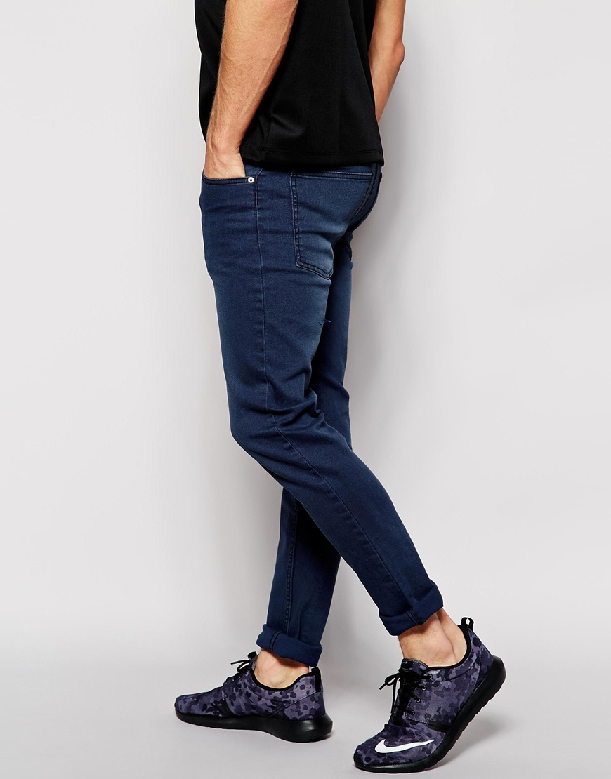 lyst cheap monday tight jean nyc blue wash in blue for men. Black Bedroom Furniture Sets. Home Design Ideas