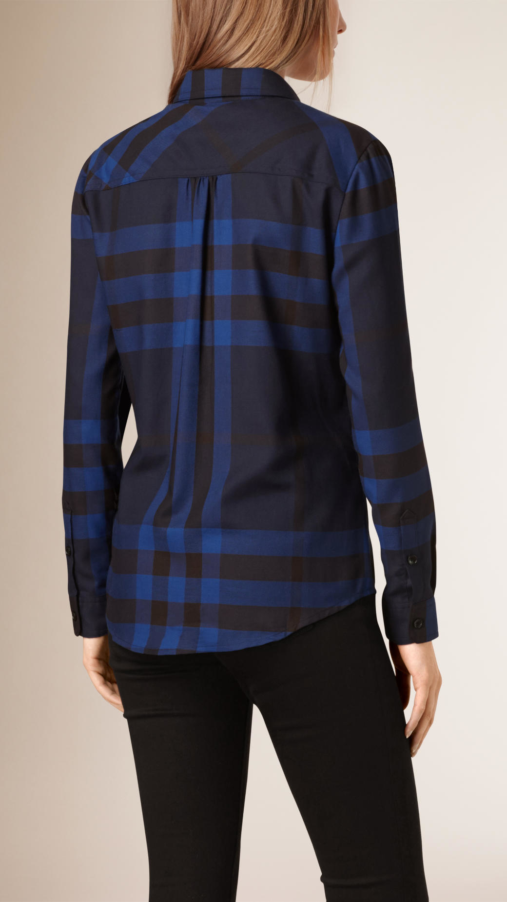 burberry check cotton flannel shirt navy in blue lyst