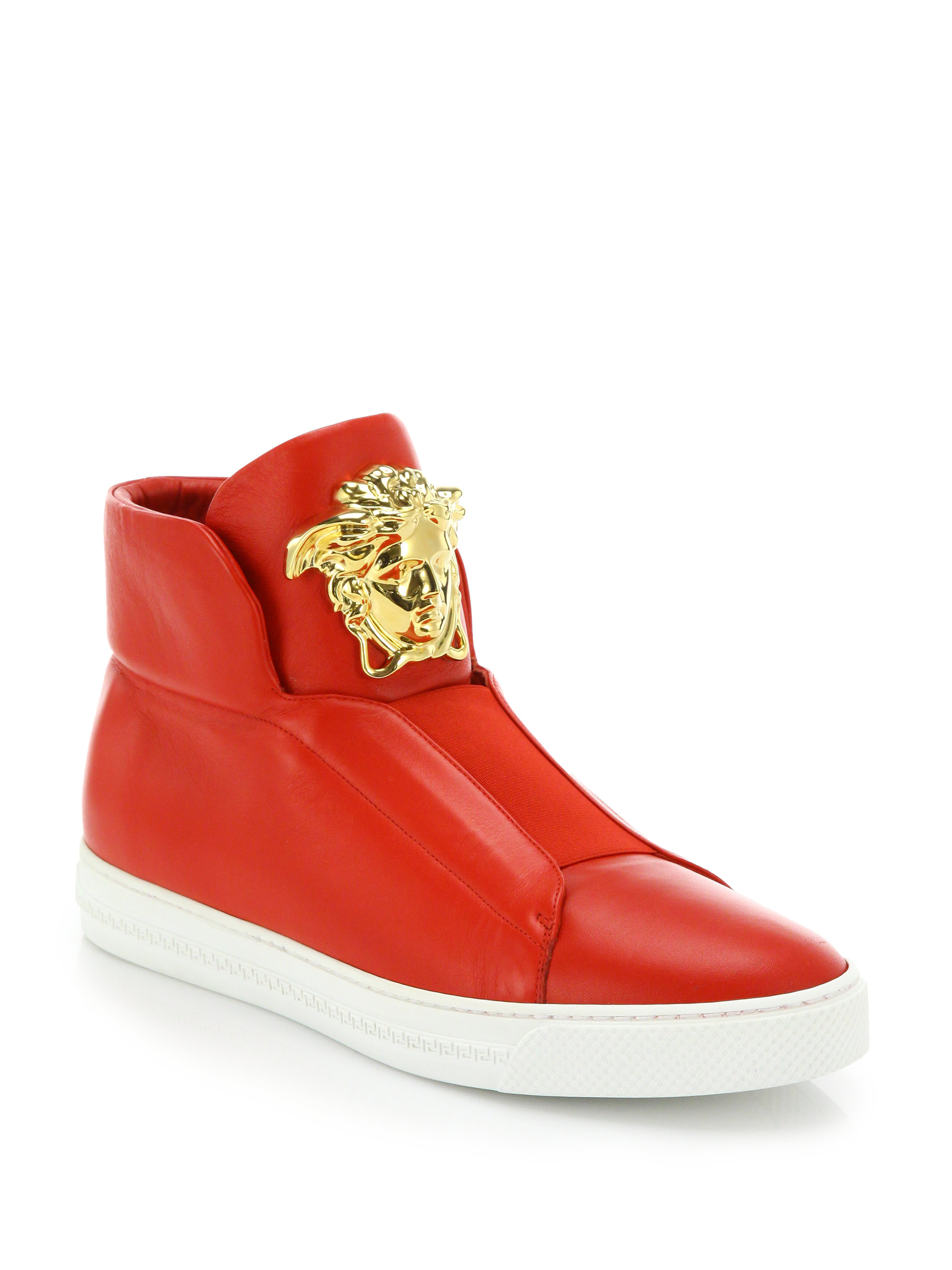 Lyst - Versace First Idol Leather High-top Sneakers in Red ...