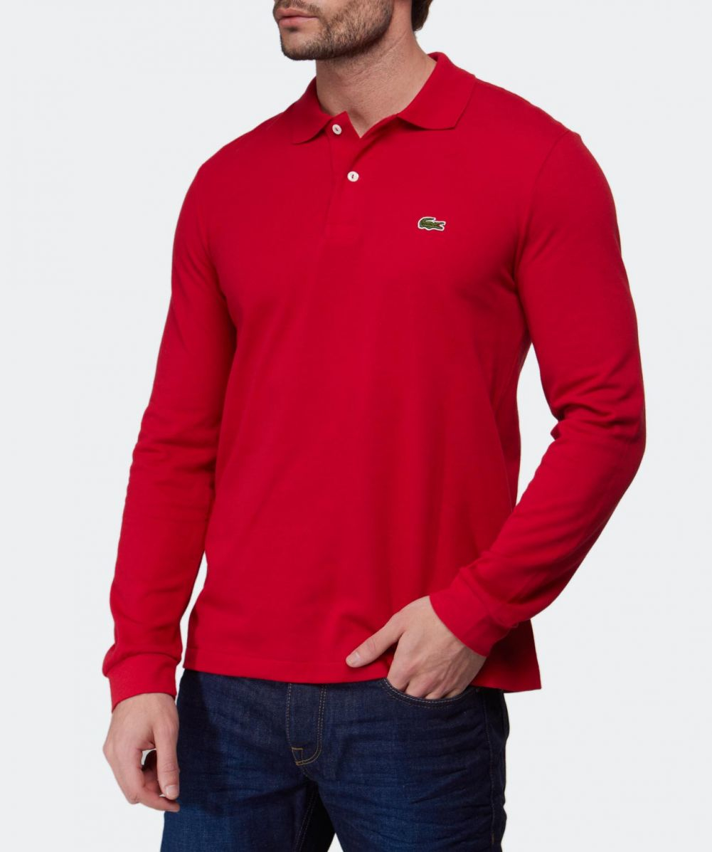 Lacoste Long Sleeve Polo Shirt In Red For Men Lyst