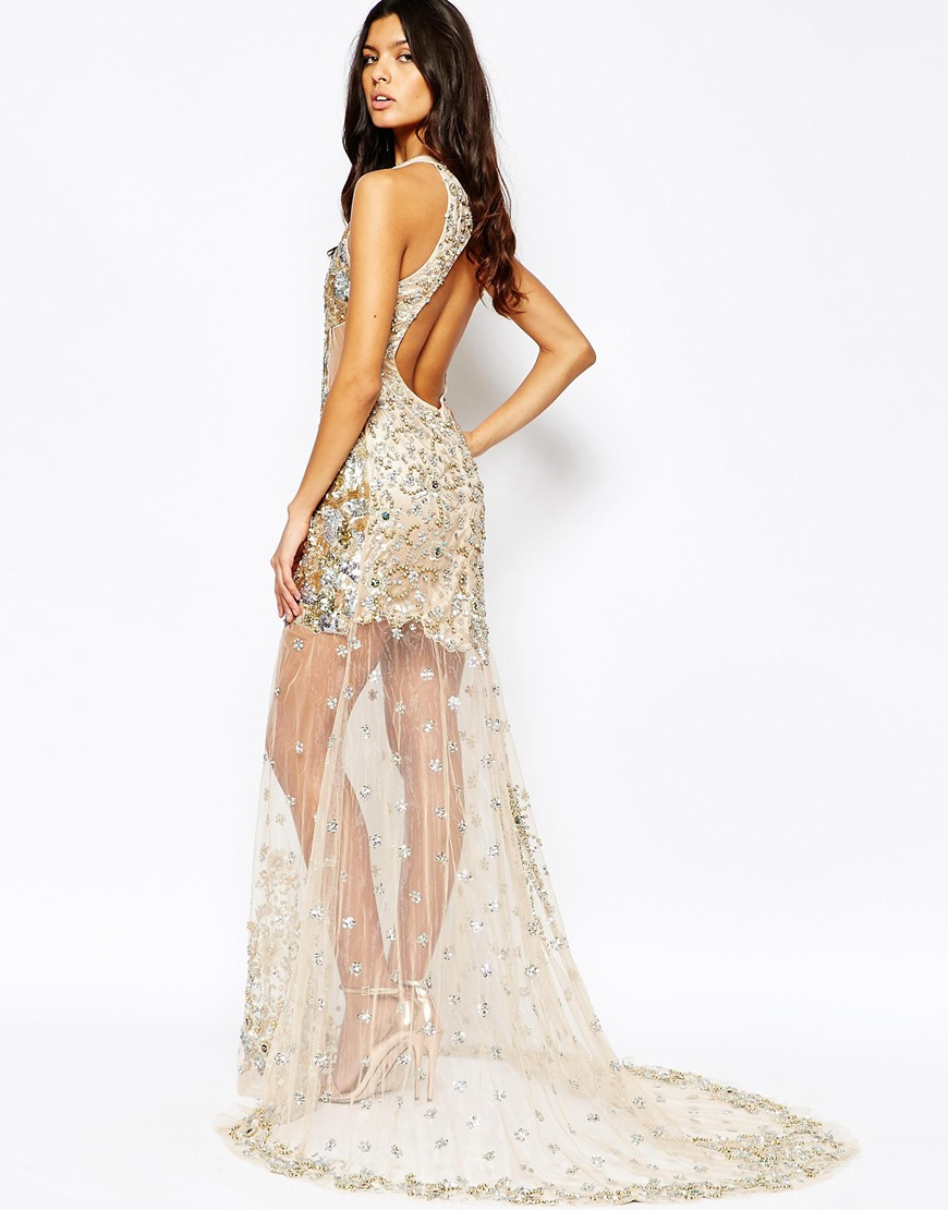 A Star Is Born Synthetic Sequin Embellished Mesh Maxi