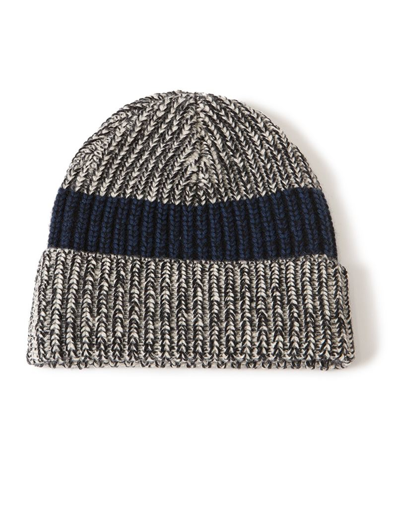 Knitting Pattern Ribbed Beanie : Proenza Schouler Ribbed Knit Beanie in Blue Lyst