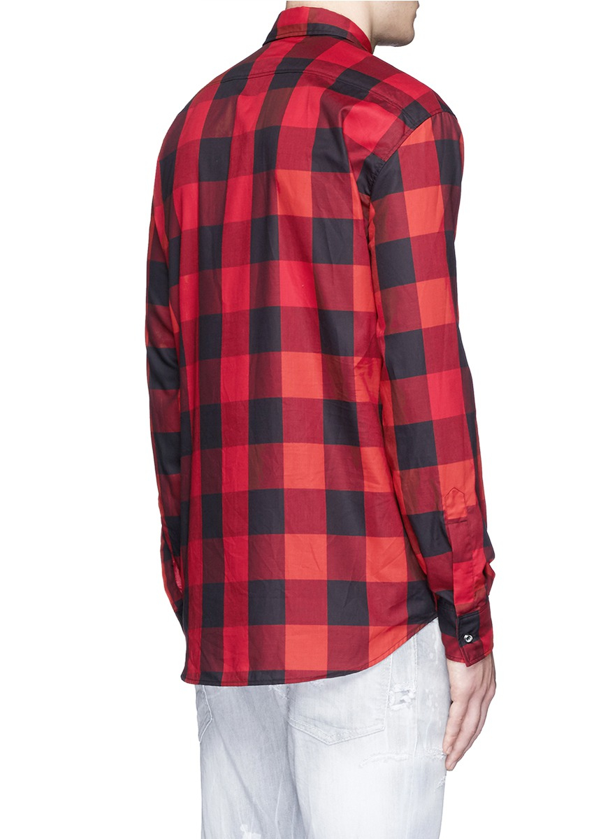 lyst dsquared check plaid cotton shirt in red for men. Black Bedroom Furniture Sets. Home Design Ideas