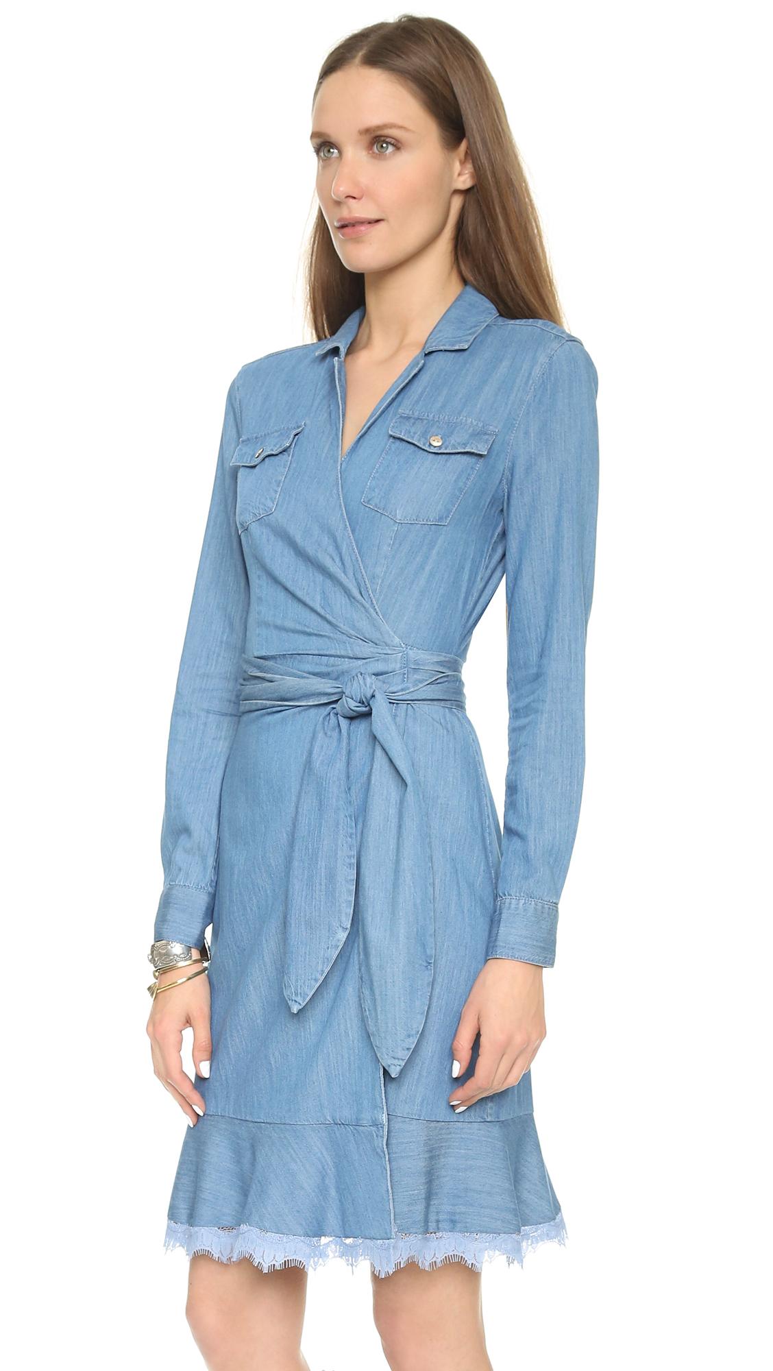Lyst Diane Von Furstenberg Aya Wrap Dress Light Indigo